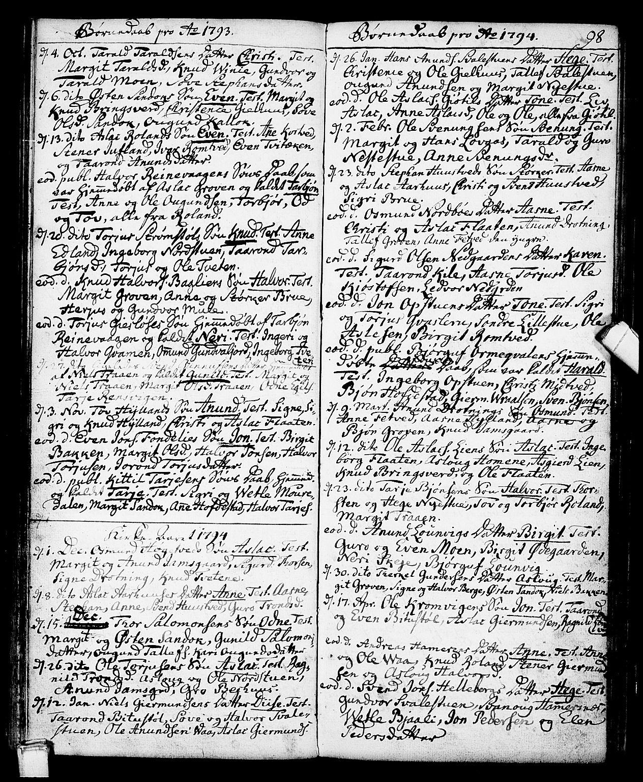 SAKO, Vinje kirkebøker, F/Fa/L0002: Ministerialbok nr. I 2, 1767-1814, s. 98