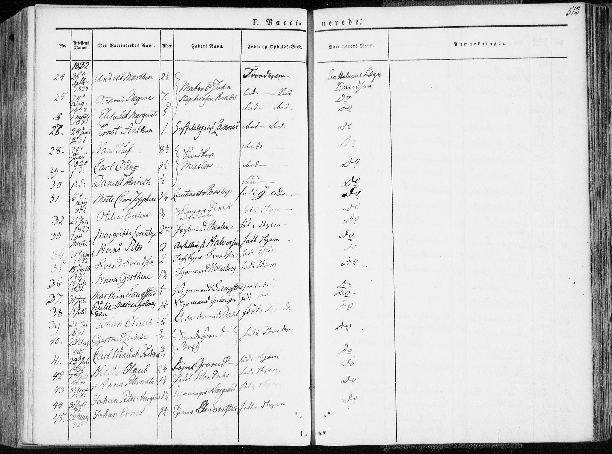 SAT, Ministerialprotokoller, klokkerbøker og fødselsregistre - Sør-Trøndelag, 601/L0047: Ministerialbok nr. 601A15, 1831-1839, s. 513