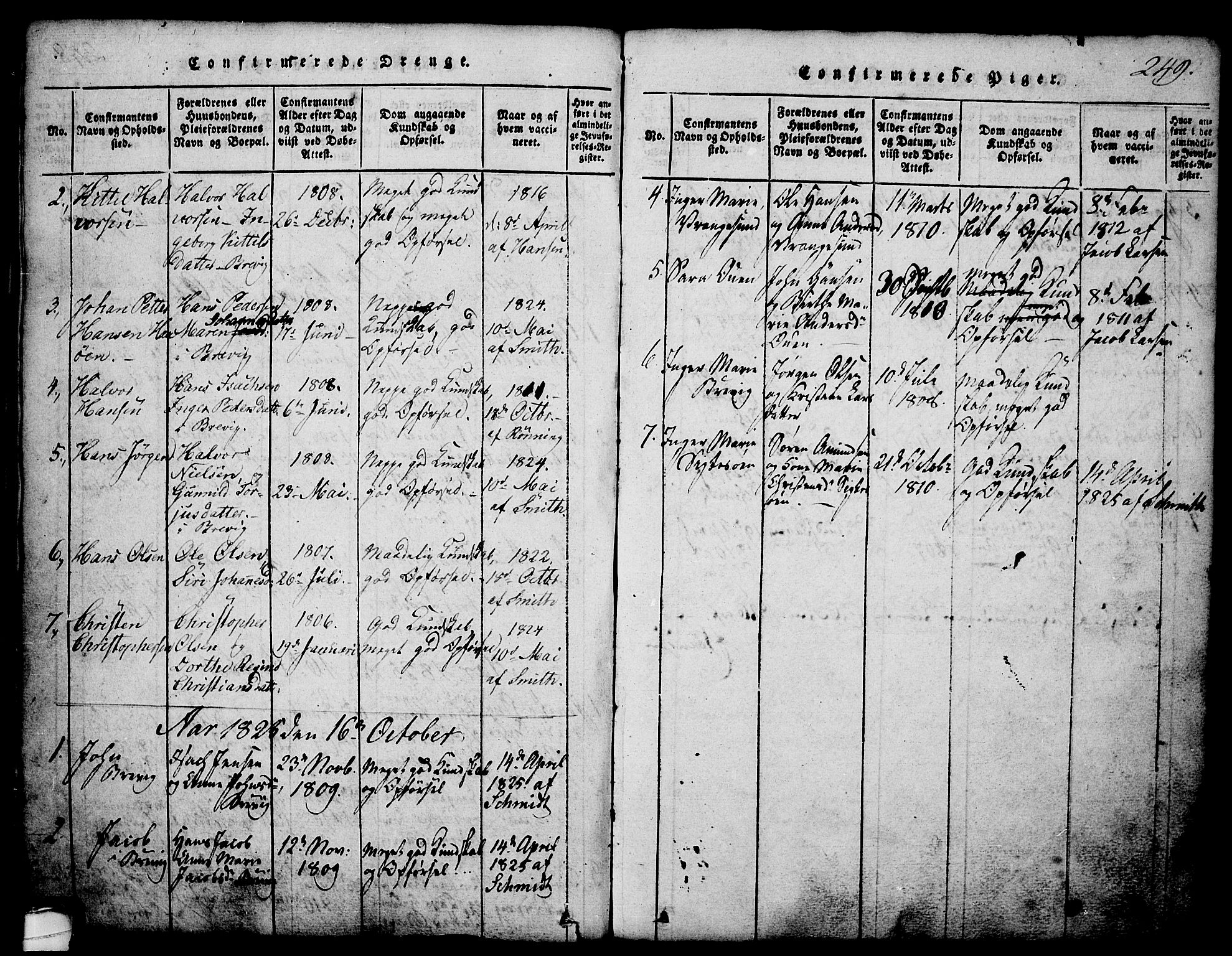 SAKO, Brevik kirkebøker, G/Ga/L0001: Klokkerbok nr. 1, 1814-1845, s. 249