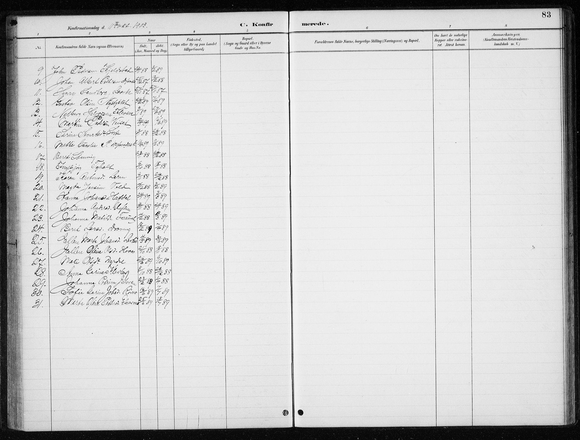 SAT, Ministerialprotokoller, klokkerbøker og fødselsregistre - Nord-Trøndelag, 710/L0096: Klokkerbok nr. 710C01, 1892-1925, s. 83