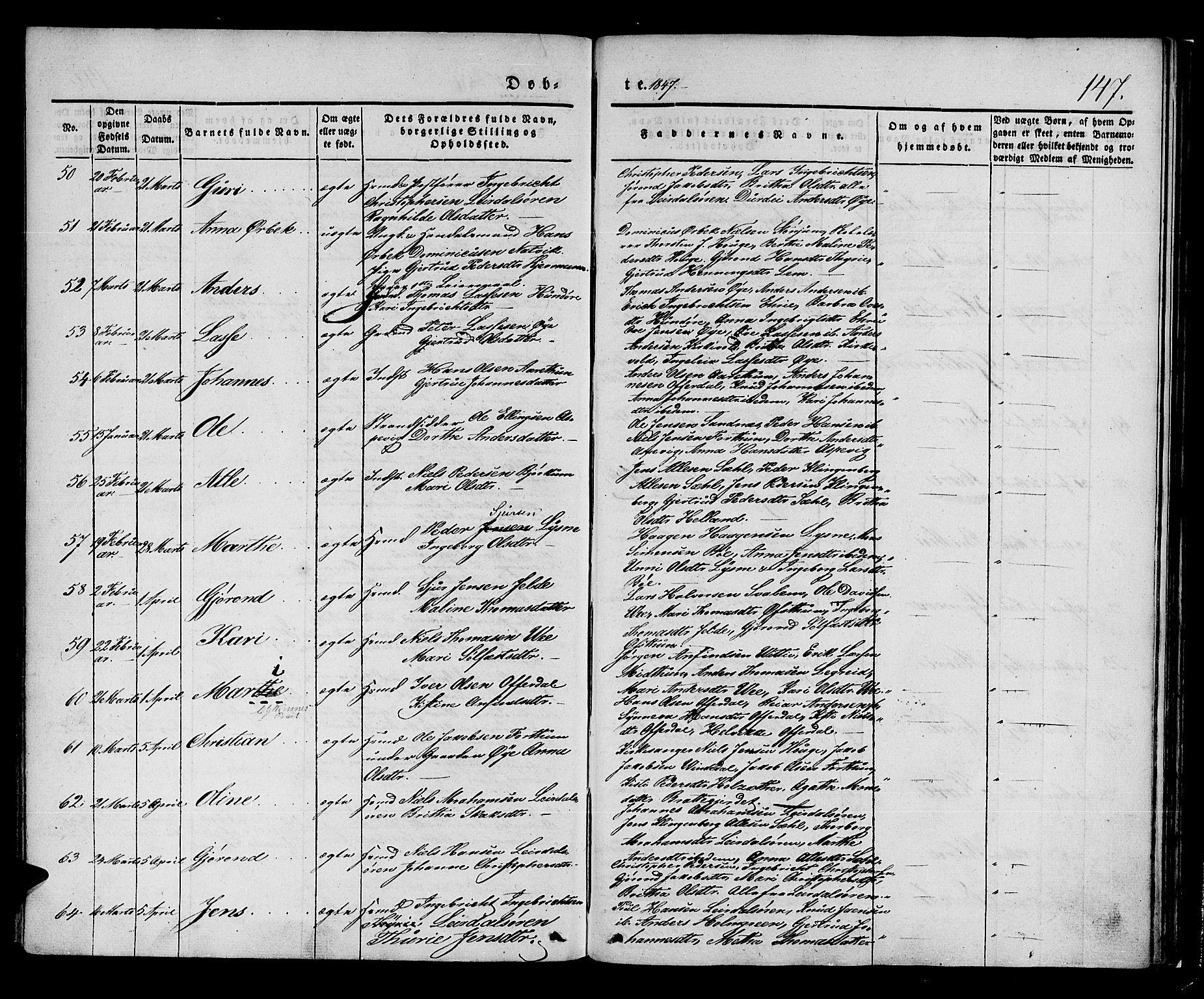SAB, Lærdal sokneprestembete, Ministerialbok nr. A 6, 1835-1849, s. 147