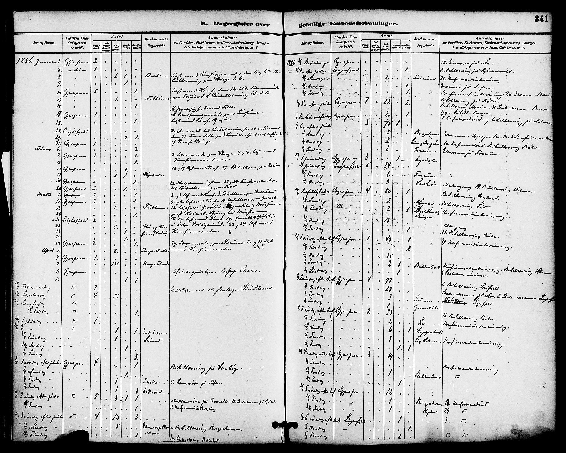 SAKO, Gjerpen kirkebøker, F/Fa/L0010: Ministerialbok nr. 10, 1886-1895, s. 341