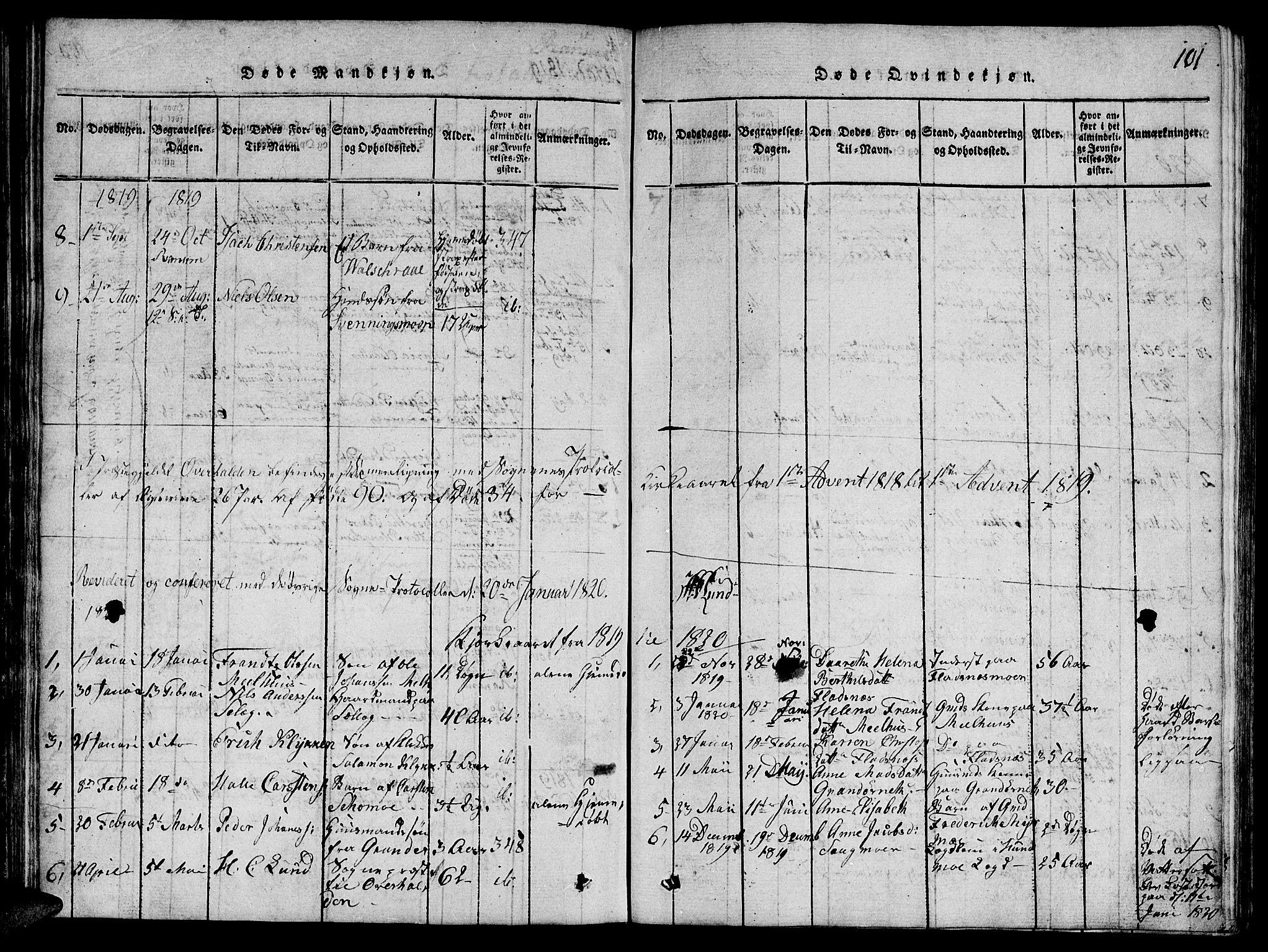 SAT, Ministerialprotokoller, klokkerbøker og fødselsregistre - Nord-Trøndelag, 764/L0546: Ministerialbok nr. 764A06 /1, 1816-1823, s. 101