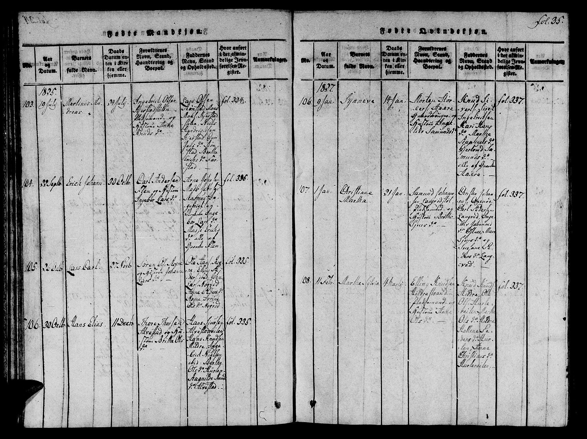 SAT, Ministerialprotokoller, klokkerbøker og fødselsregistre - Møre og Romsdal, 536/L0495: Ministerialbok nr. 536A04, 1818-1847, s. 35