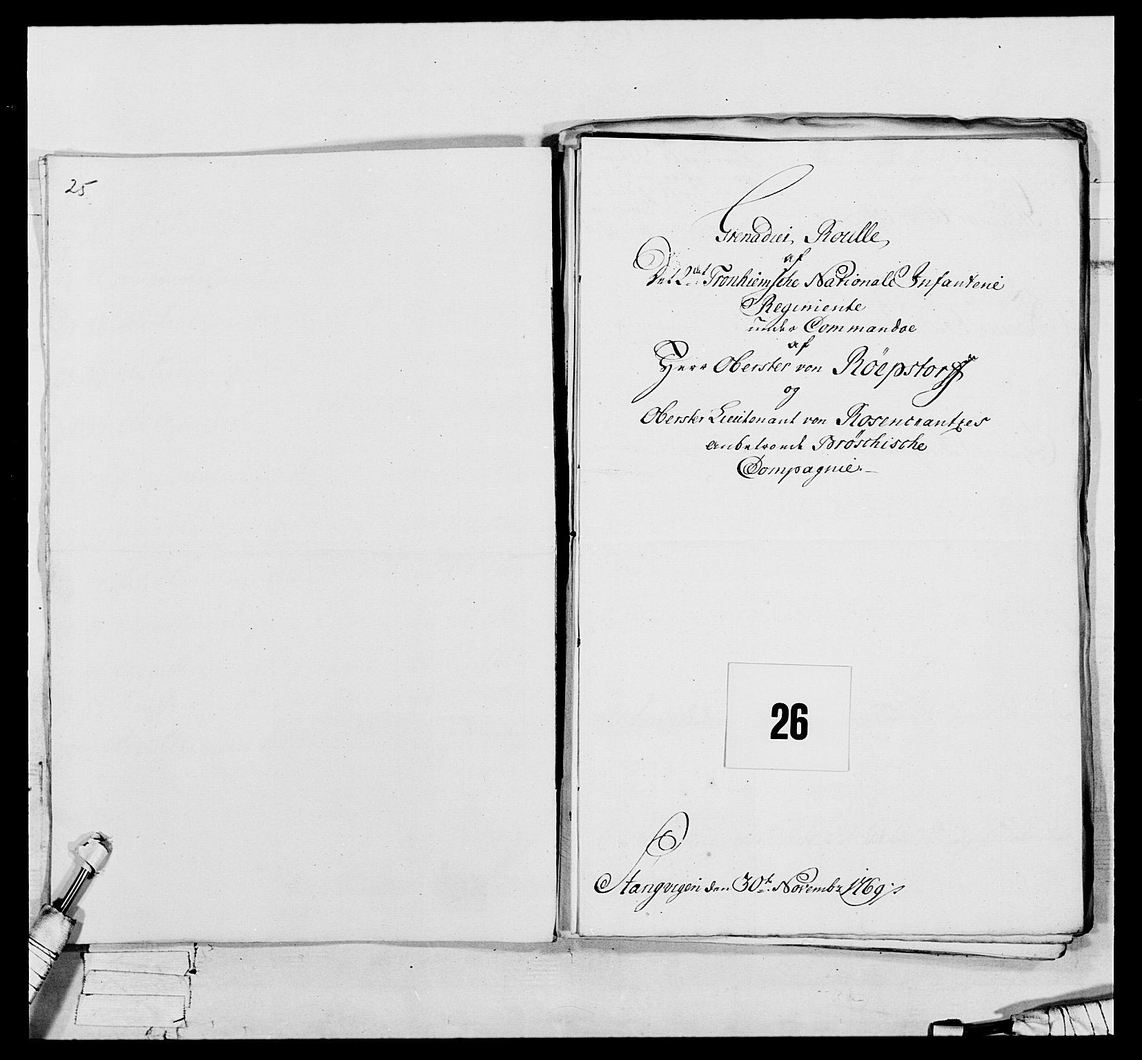 RA, Generalitets- og kommissariatskollegiet, Det kongelige norske kommissariatskollegium, E/Eh/L0076: 2. Trondheimske nasjonale infanteriregiment, 1766-1773, s. 66