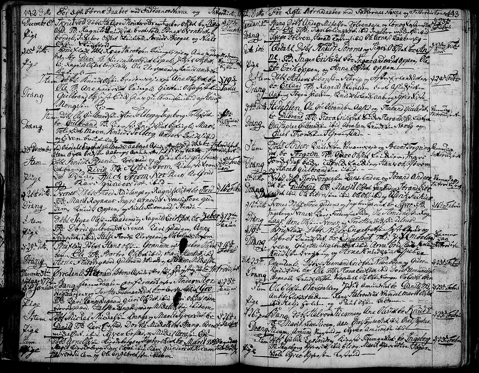 SAH, Aurdal prestekontor, Ministerialbok nr. 5, 1763-1781, s. 142-143