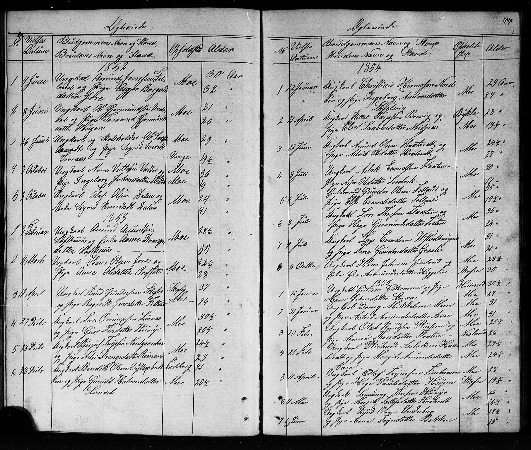 SAKO, Mo kirkebøker, G/Ga/L0001: Klokkerbok nr. I 1, 1851-1891, s. 77