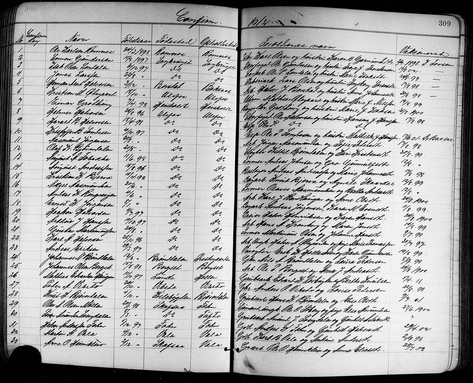 SAKO, Holla kirkebøker, G/Ga/L0005: Klokkerbok nr. I 5, 1891-1917, s. 309