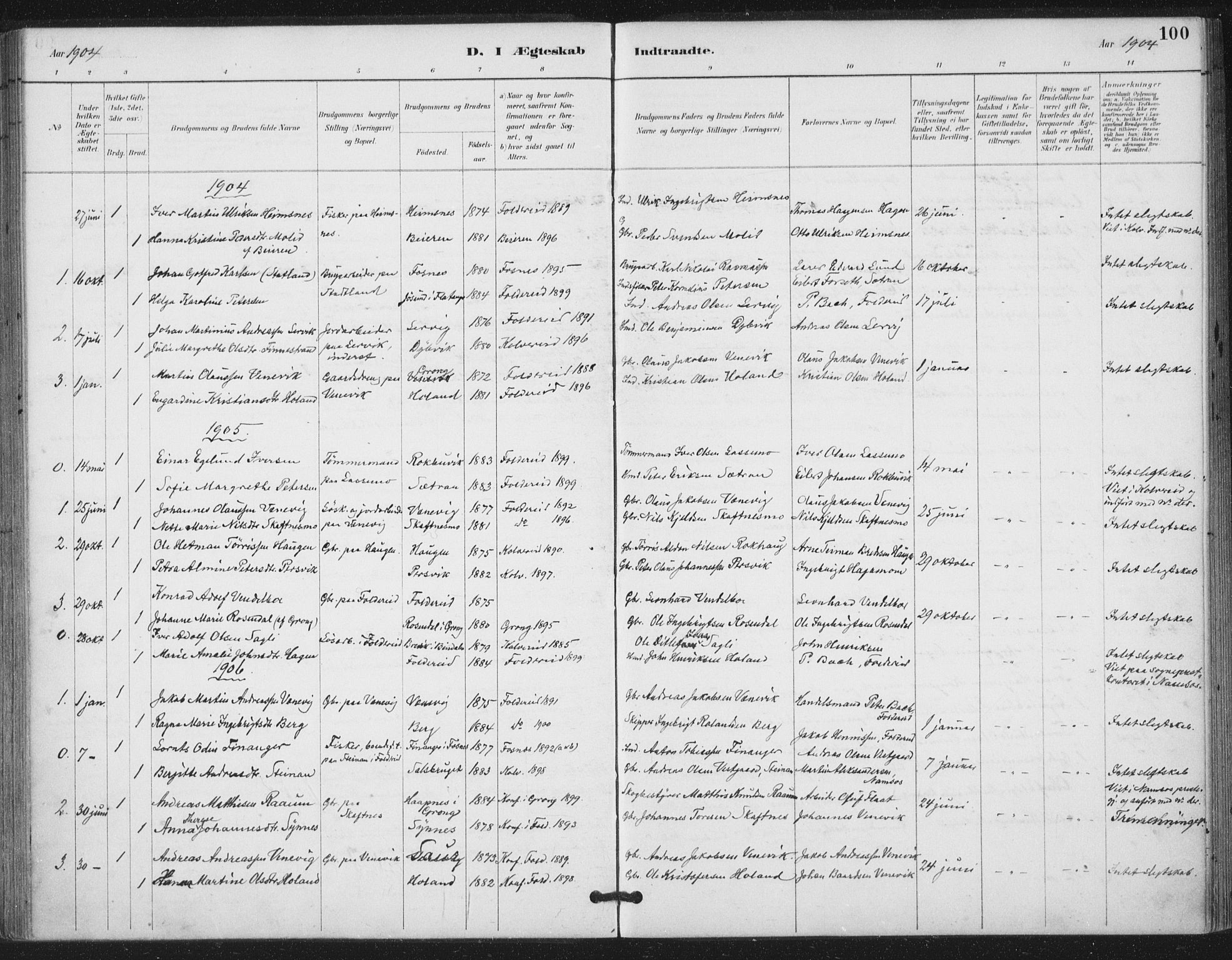 SAT, Ministerialprotokoller, klokkerbøker og fødselsregistre - Nord-Trøndelag, 783/L0660: Ministerialbok nr. 783A02, 1886-1918, s. 100
