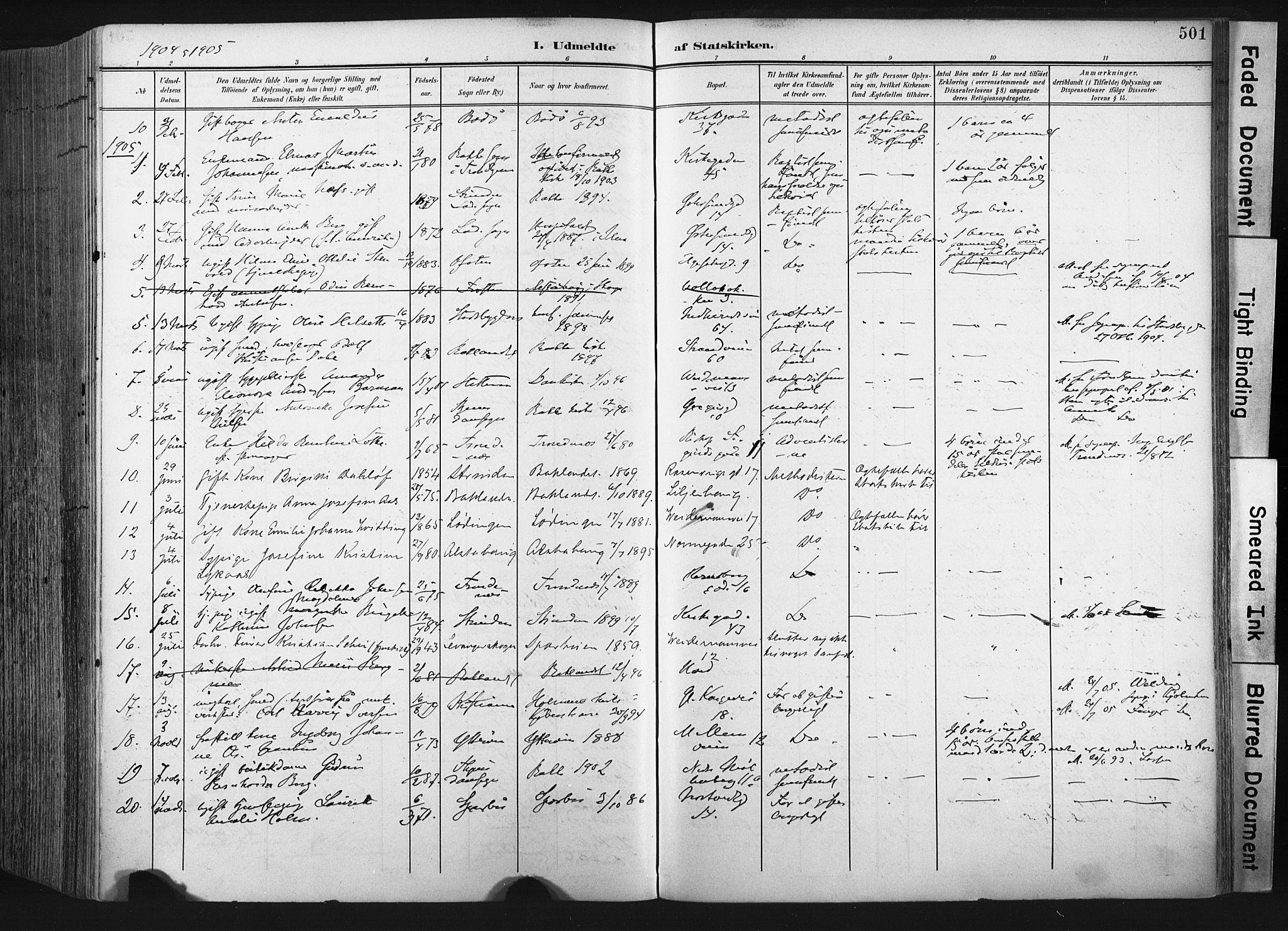 SAT, Ministerialprotokoller, klokkerbøker og fødselsregistre - Sør-Trøndelag, 604/L0201: Ministerialbok nr. 604A21, 1901-1911, s. 501