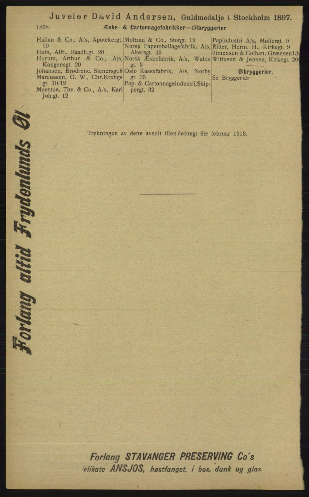 RA, Kristiania adressebok (publikasjon)*, 1913, s. 1858