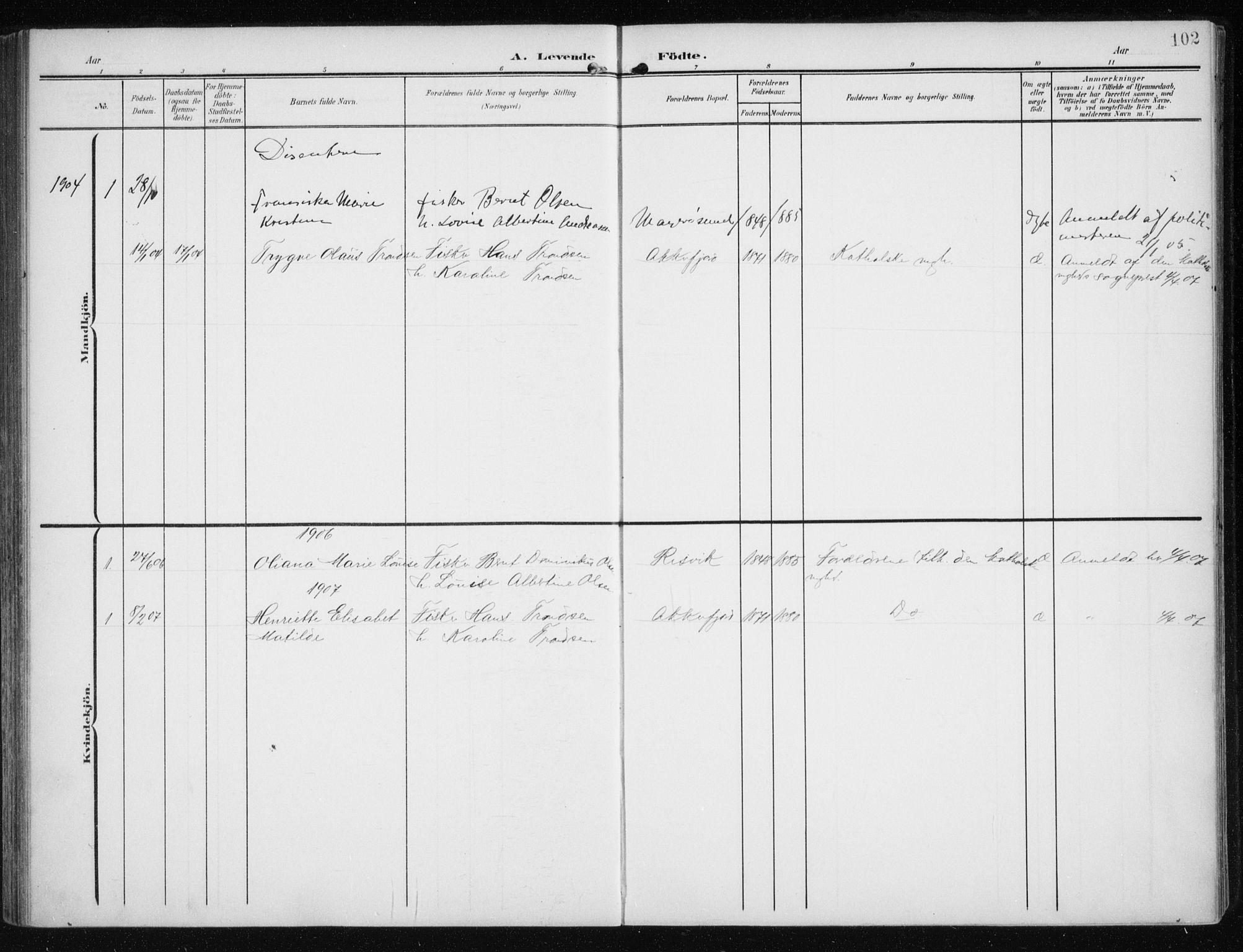 SATØ, Måsøy sokneprestkontor, H/Ha/L0009kirke: Ministerialbok nr. 9, 1903-1914, s. 102