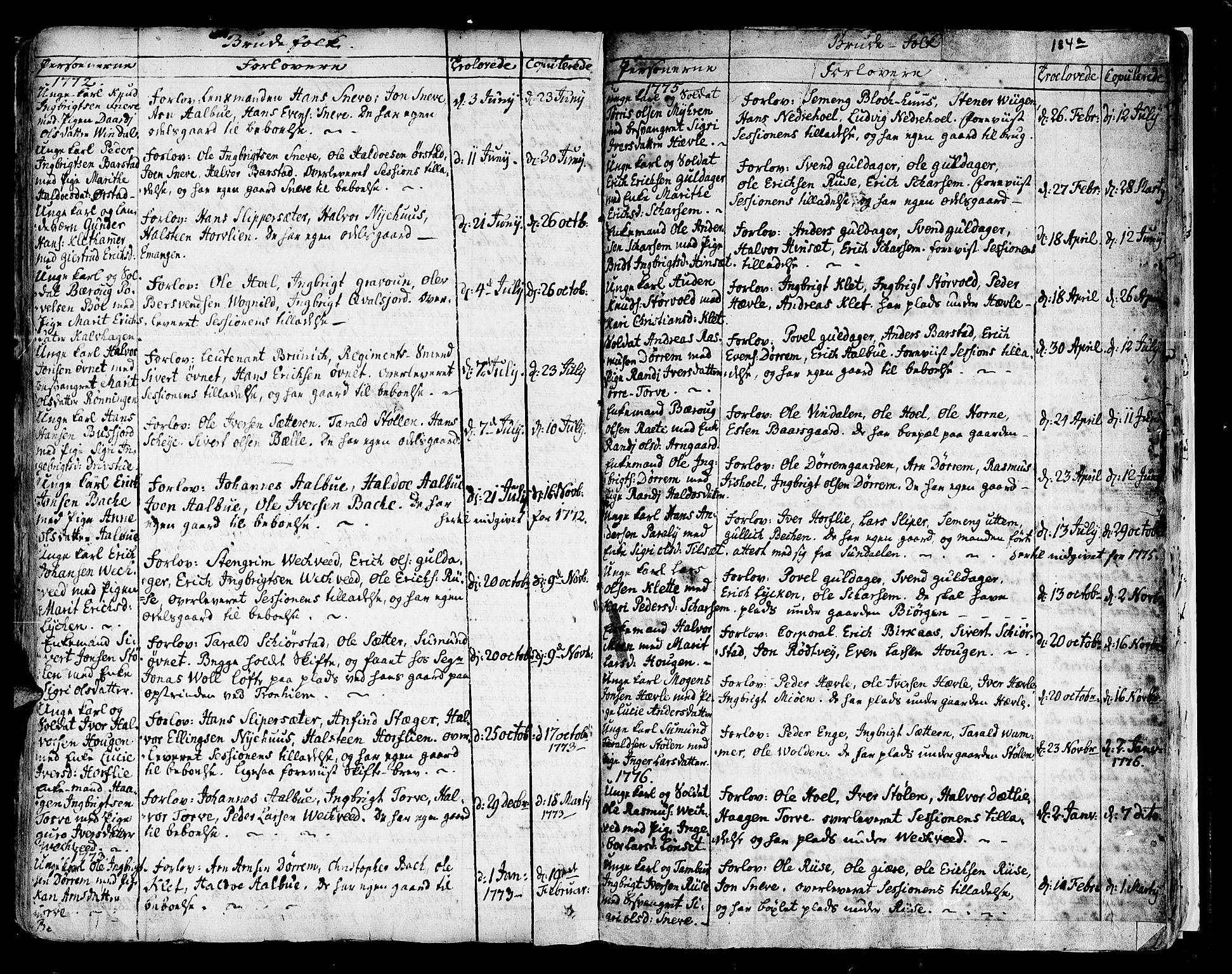 SAT, Ministerialprotokoller, klokkerbøker og fødselsregistre - Sør-Trøndelag, 678/L0891: Ministerialbok nr. 678A01, 1739-1780, s. 184b