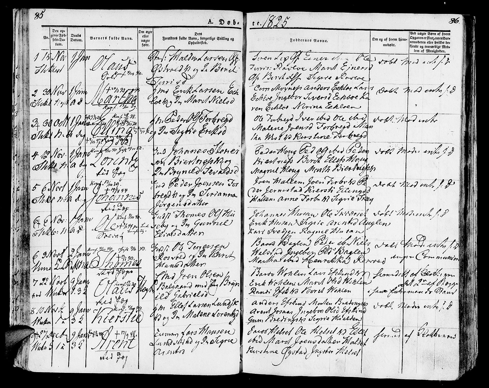 SAT, Ministerialprotokoller, klokkerbøker og fødselsregistre - Nord-Trøndelag, 723/L0237: Ministerialbok nr. 723A06, 1822-1830, s. 85-86