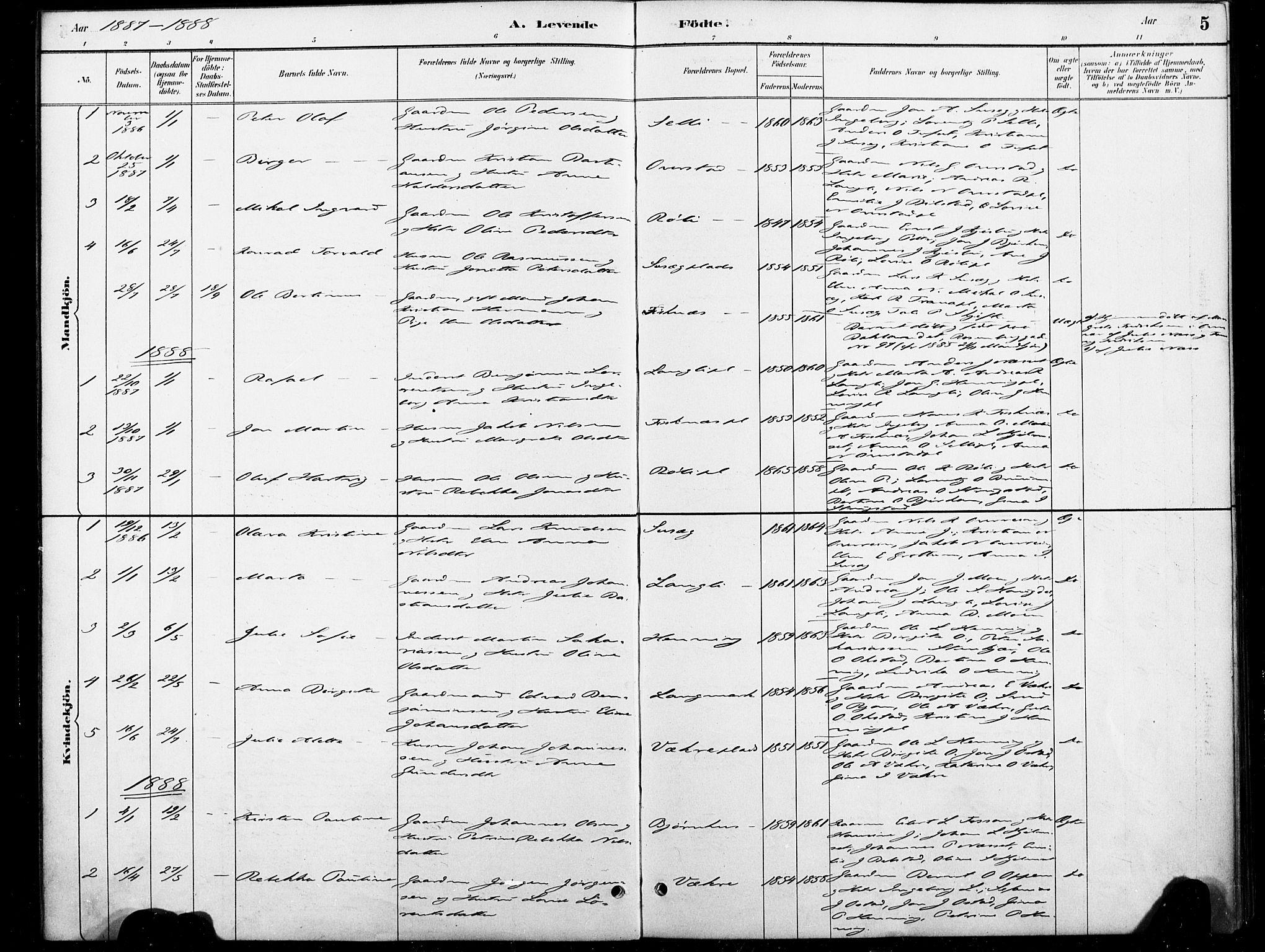 SAT, Ministerialprotokoller, klokkerbøker og fødselsregistre - Nord-Trøndelag, 738/L0364: Ministerialbok nr. 738A01, 1884-1902, s. 5