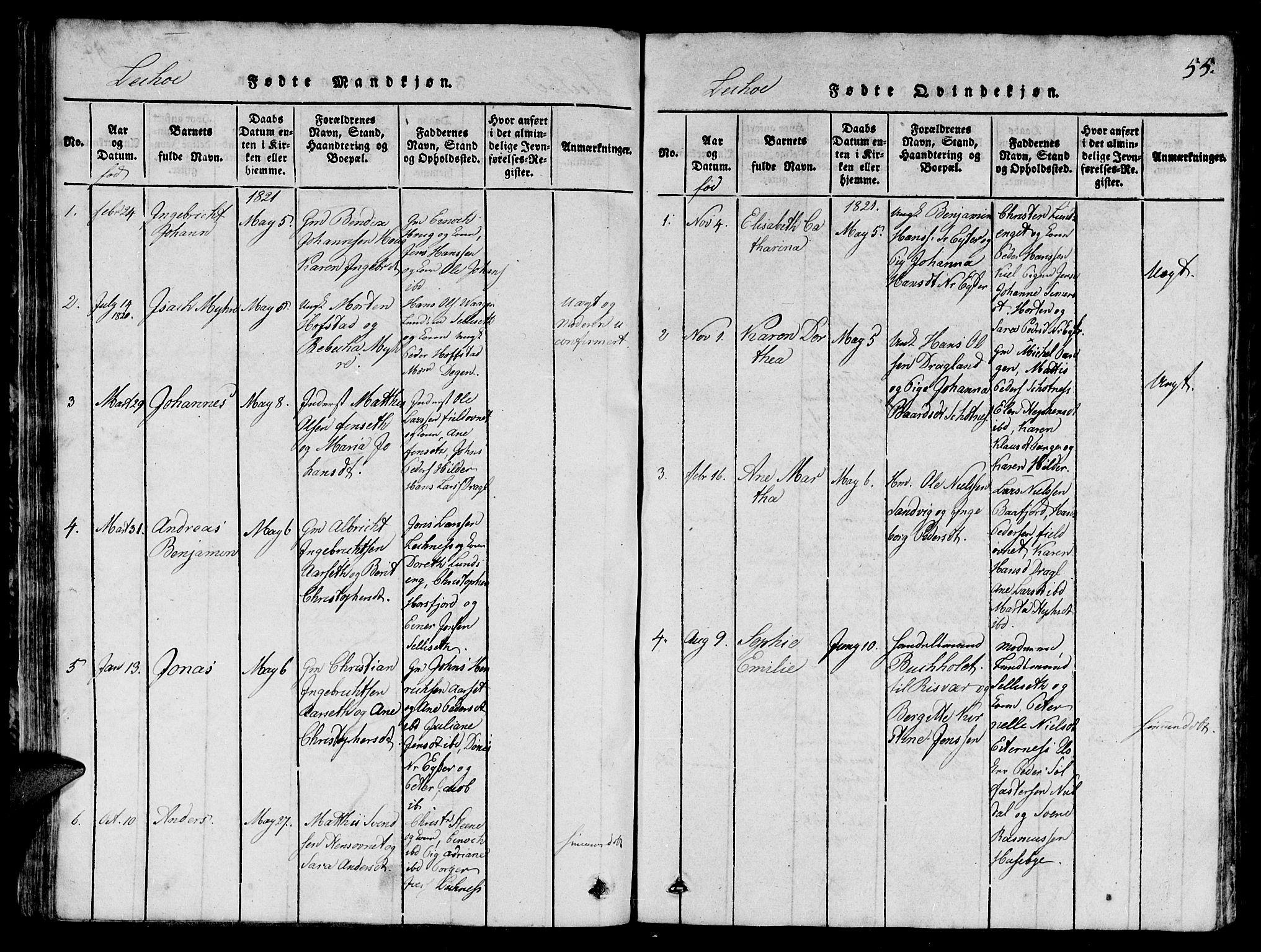 SAT, Ministerialprotokoller, klokkerbøker og fødselsregistre - Nord-Trøndelag, 780/L0648: Klokkerbok nr. 780C01 /2, 1815-1875, s. 55
