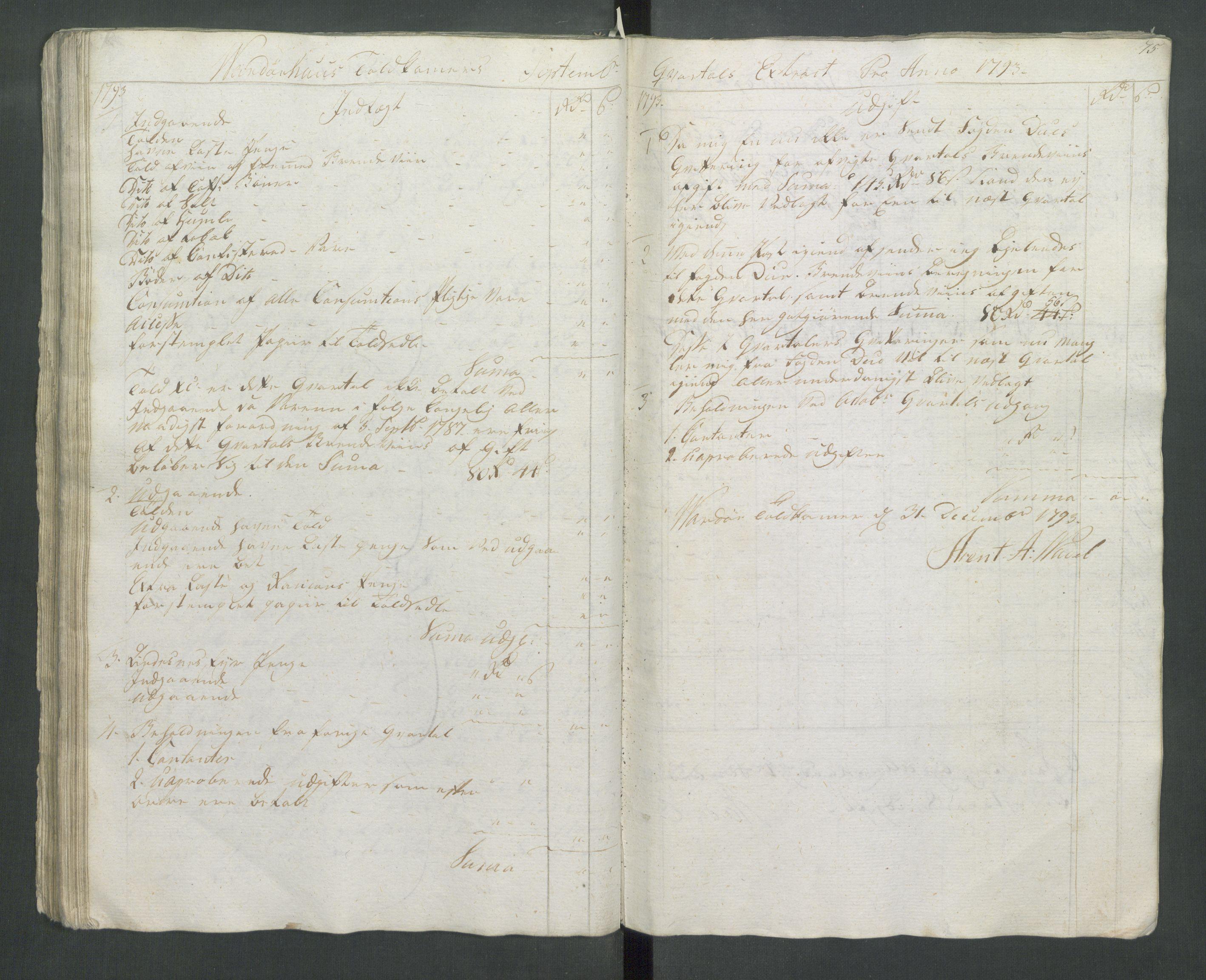 RA, Generaltollkammeret, tollregnskaper, R37/L0001: Tollregnskaper Vardø, 1789-1794, s. 74b-75a