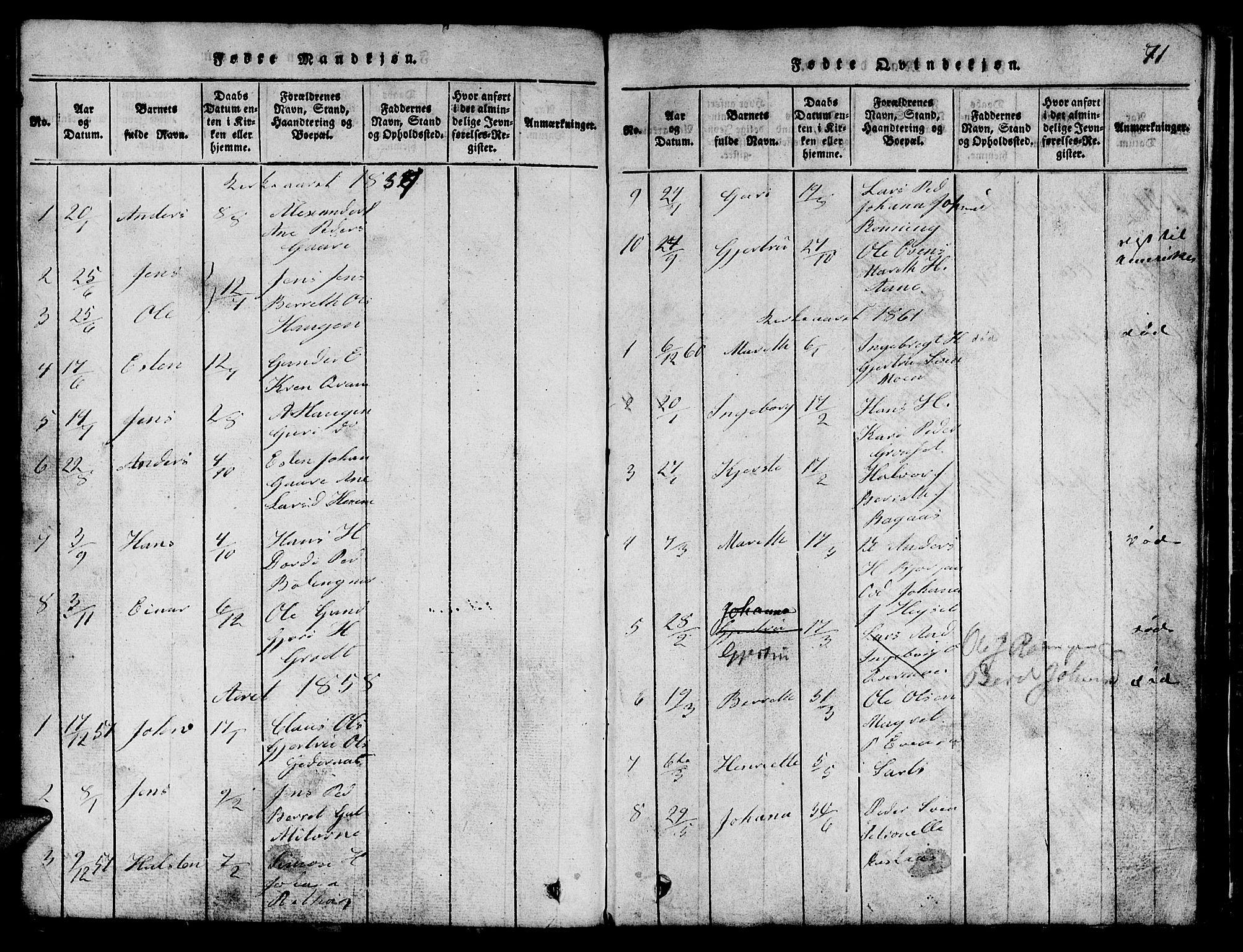 SAT, Ministerialprotokoller, klokkerbøker og fødselsregistre - Sør-Trøndelag, 685/L0976: Klokkerbok nr. 685C01, 1817-1878, s. 71