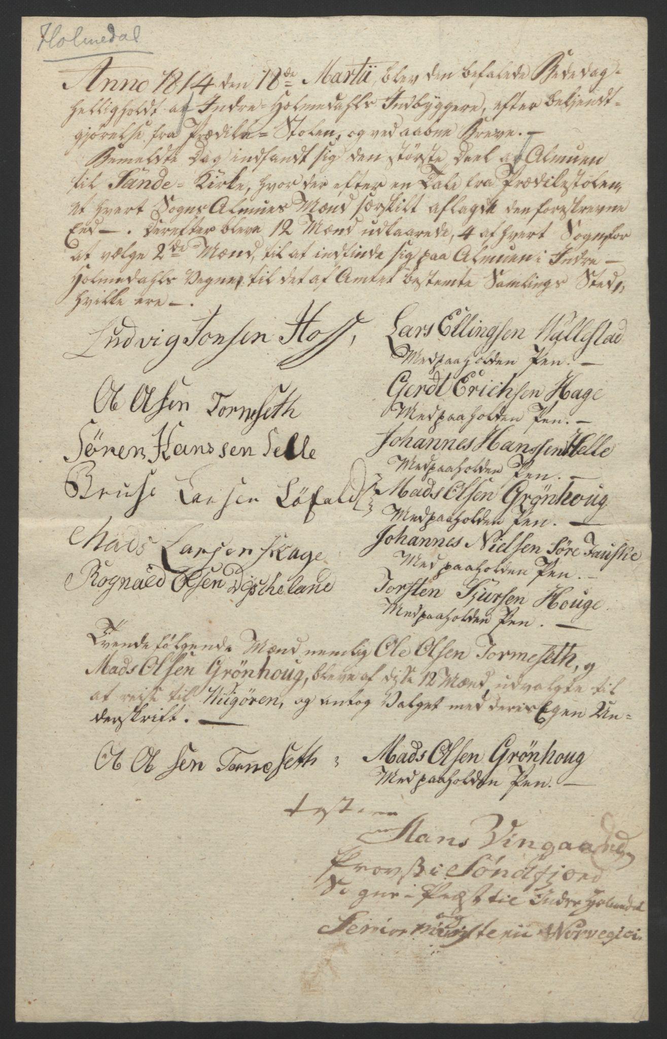 RA, Statsrådssekretariatet, D/Db/L0008: Fullmakter for Eidsvollsrepresentantene i 1814. , 1814, s. 325