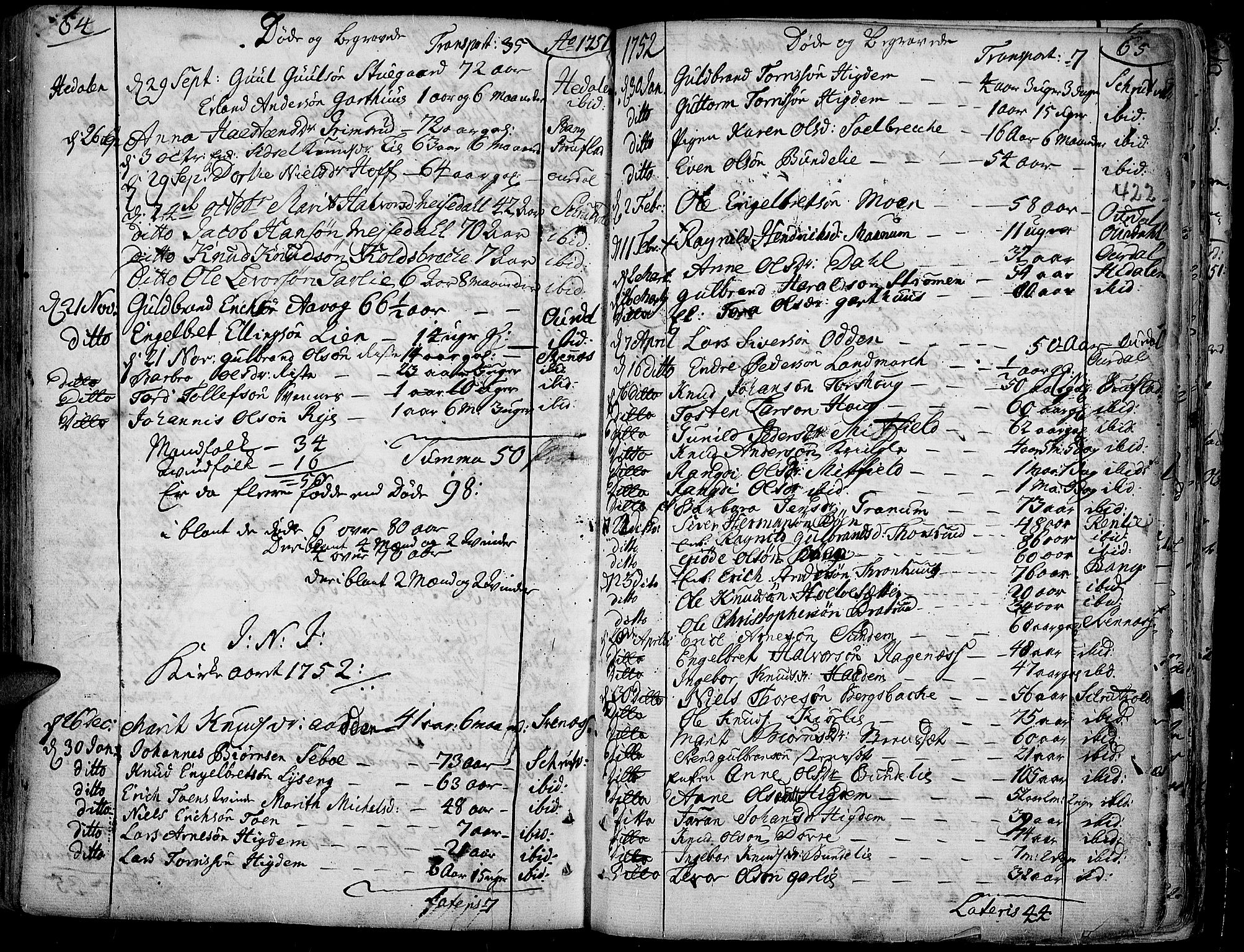 SAH, Aurdal prestekontor, Ministerialbok nr. 4, 1730-1762, s. 64-65