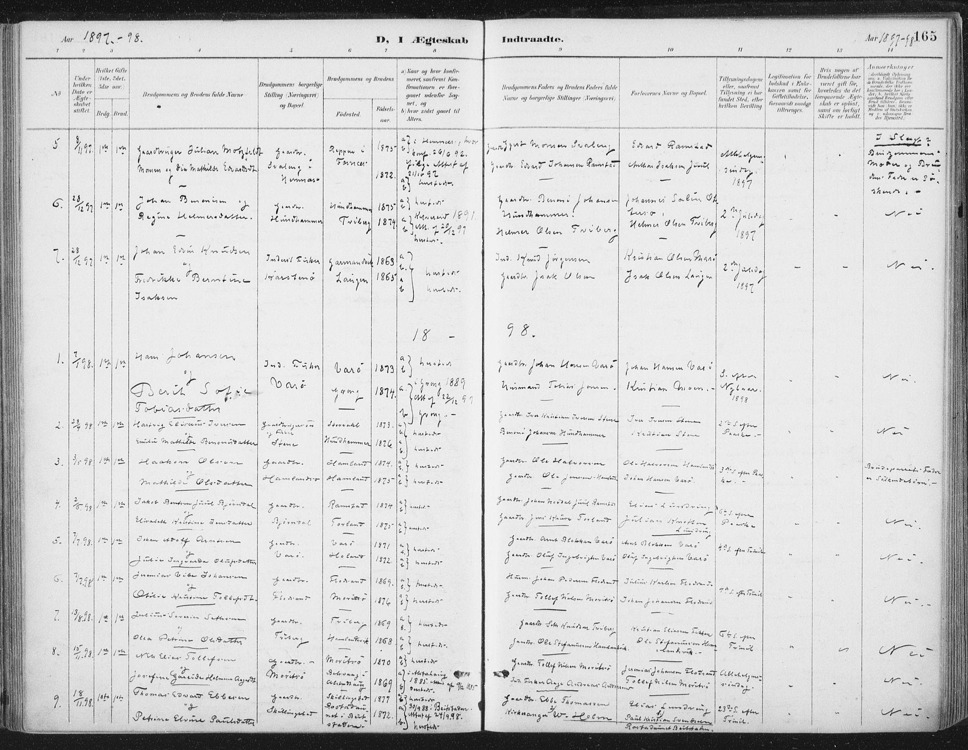 SAT, Ministerialprotokoller, klokkerbøker og fødselsregistre - Nord-Trøndelag, 784/L0673: Ministerialbok nr. 784A08, 1888-1899, s. 165