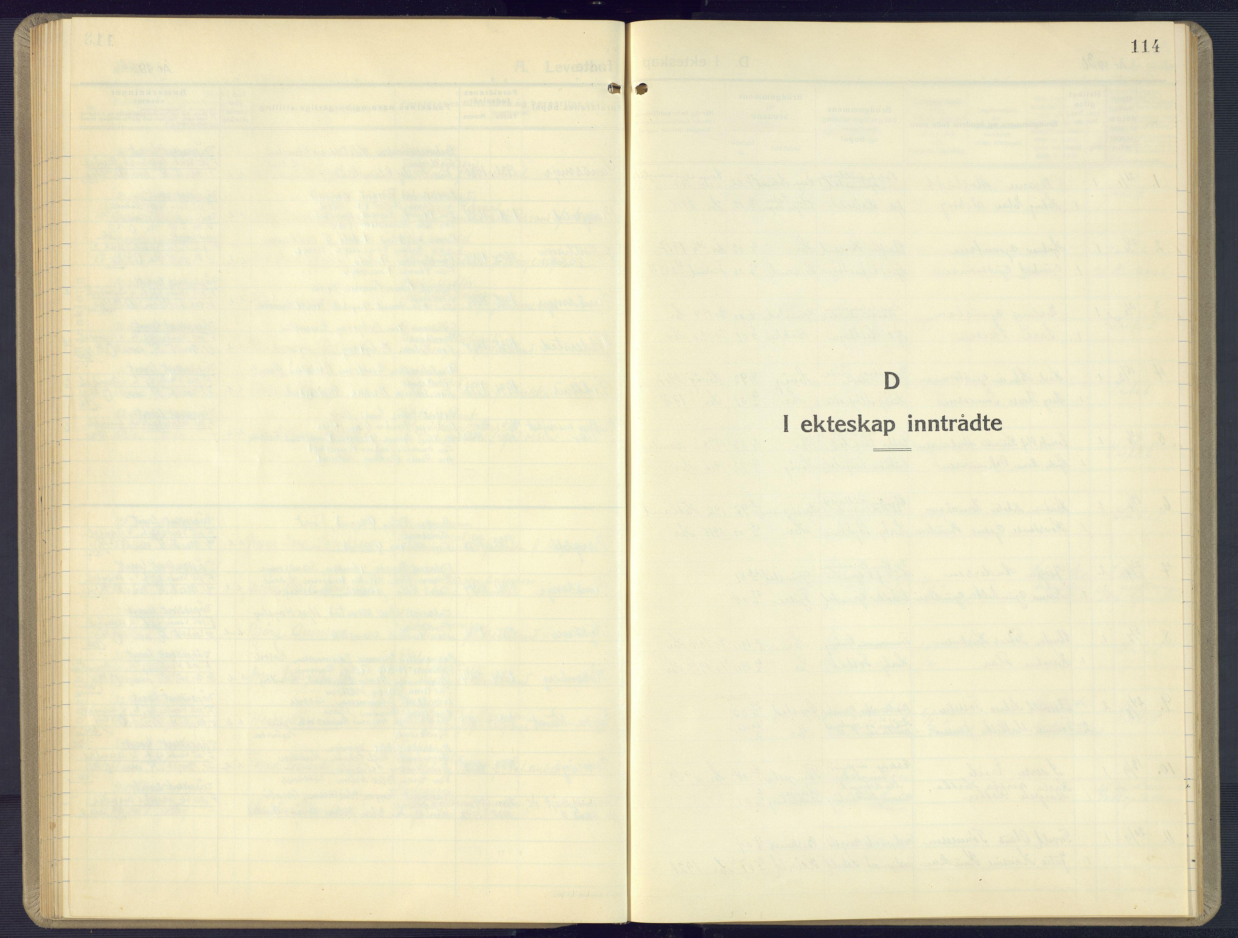 SAK, Vestre Moland sokneprestkontor, F/Fb/Fbb/L0008: Klokkerbok nr. B 8, 1930-1966, s. 114