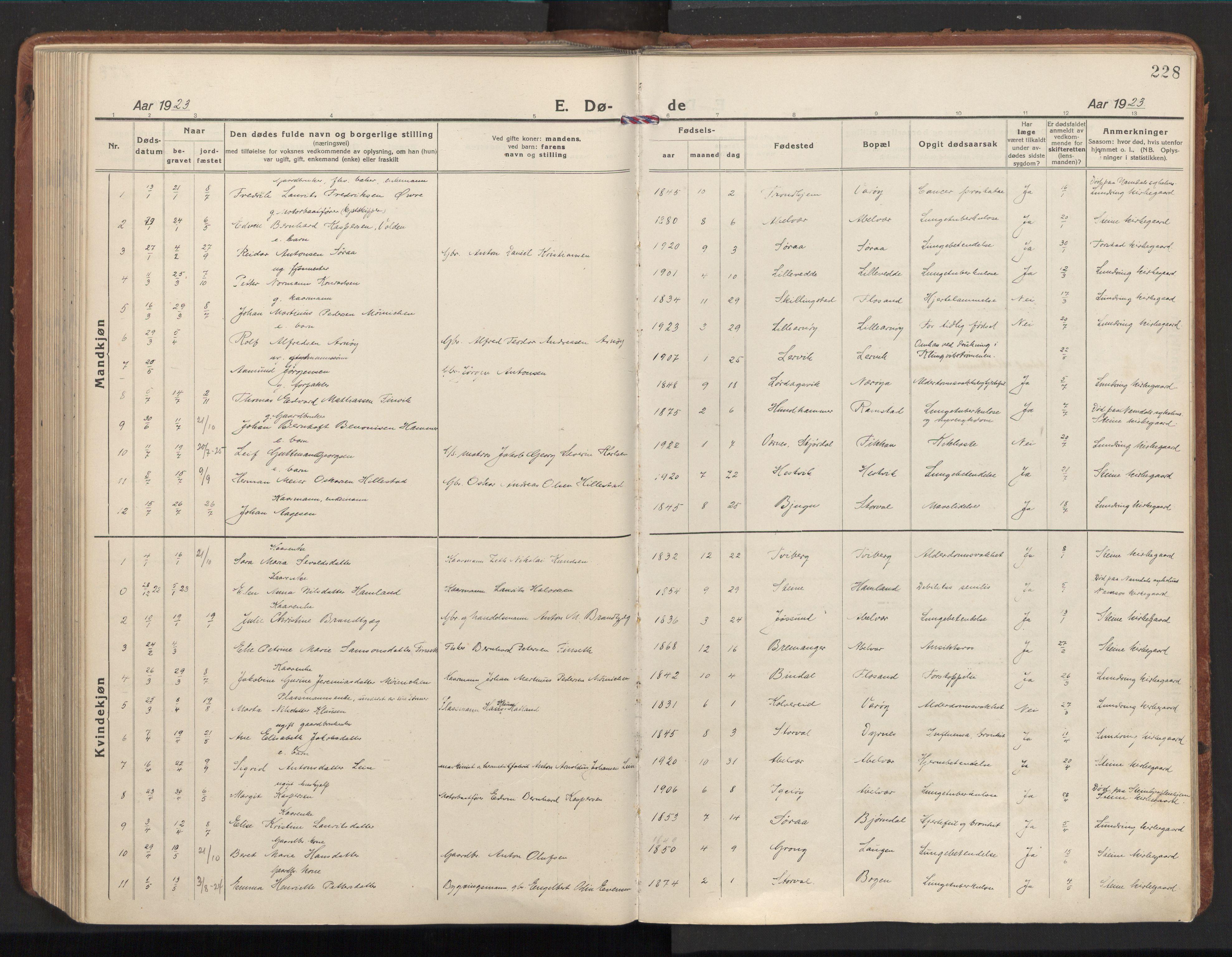 SAT, Ministerialprotokoller, klokkerbøker og fødselsregistre - Nord-Trøndelag, 784/L0678: Ministerialbok nr. 784A13, 1921-1938, s. 228