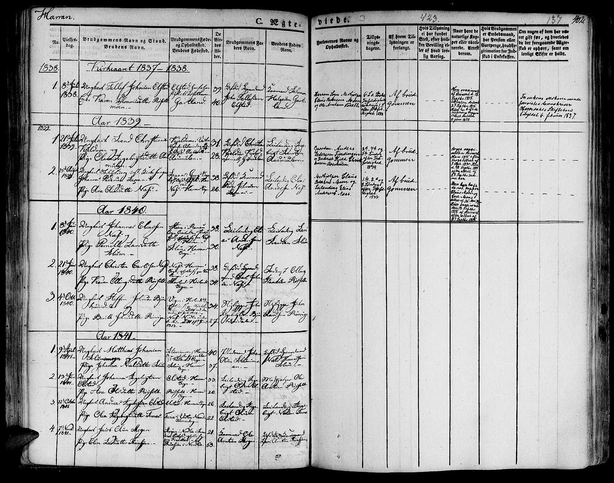 SAT, Ministerialprotokoller, klokkerbøker og fødselsregistre - Nord-Trøndelag, 758/L0510: Ministerialbok nr. 758A01 /3, 1821-1841, s. 137