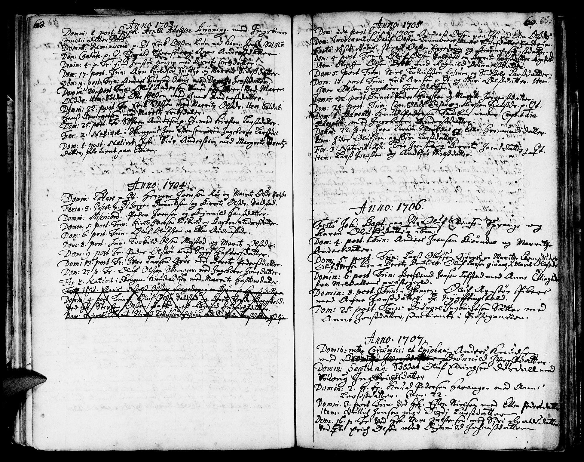 SAT, Ministerialprotokoller, klokkerbøker og fødselsregistre - Sør-Trøndelag, 668/L0801: Ministerialbok nr. 668A01, 1695-1716, s. 64-65