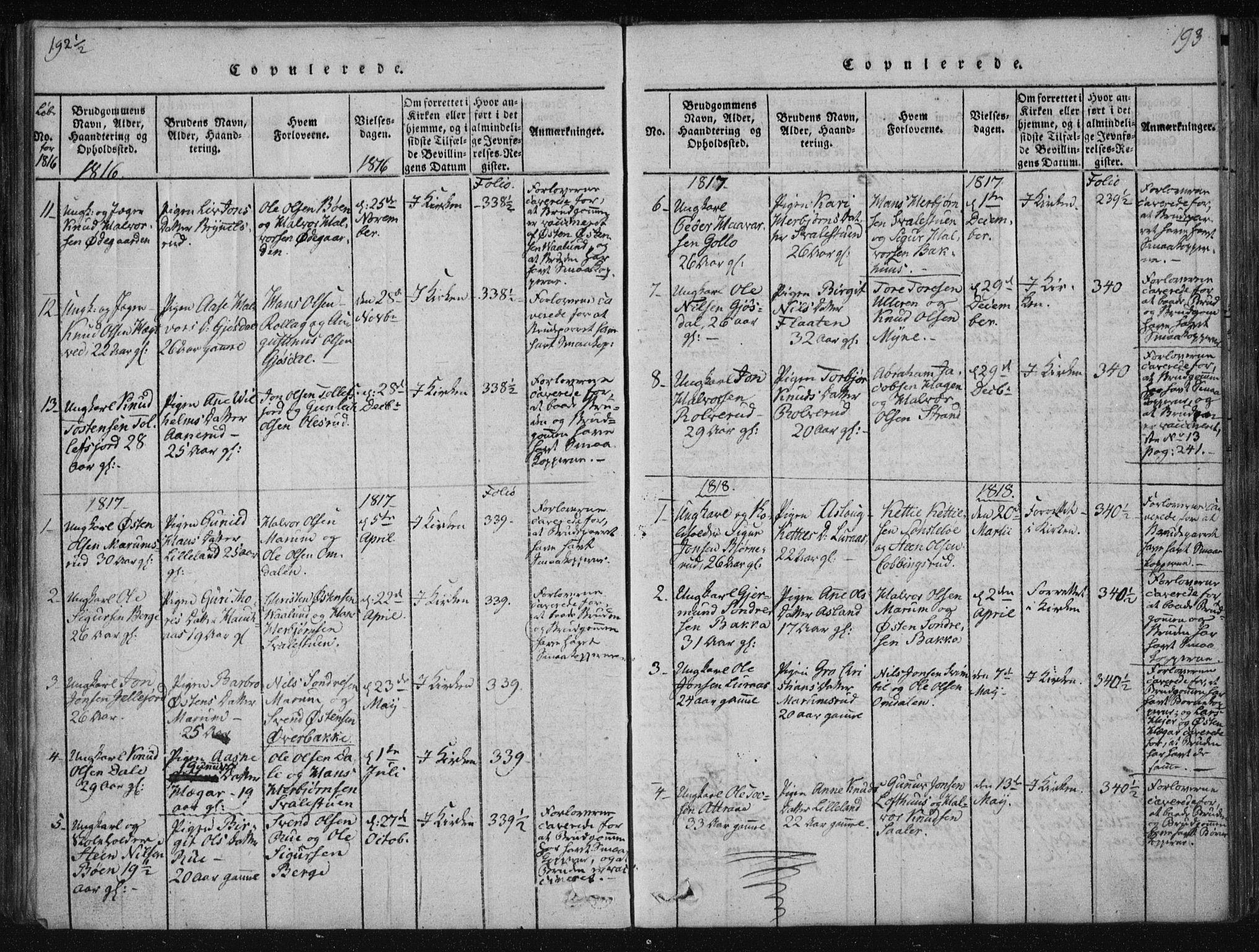 SAKO, Tinn kirkebøker, F/Fa/L0004: Ministerialbok nr. I 4, 1815-1843, s. 193