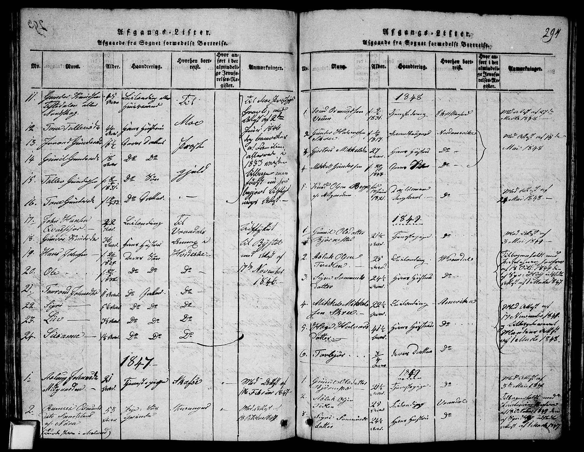 SAKO, Fyresdal kirkebøker, G/Ga/L0003: Klokkerbok nr. I 3, 1815-1863, s. 294