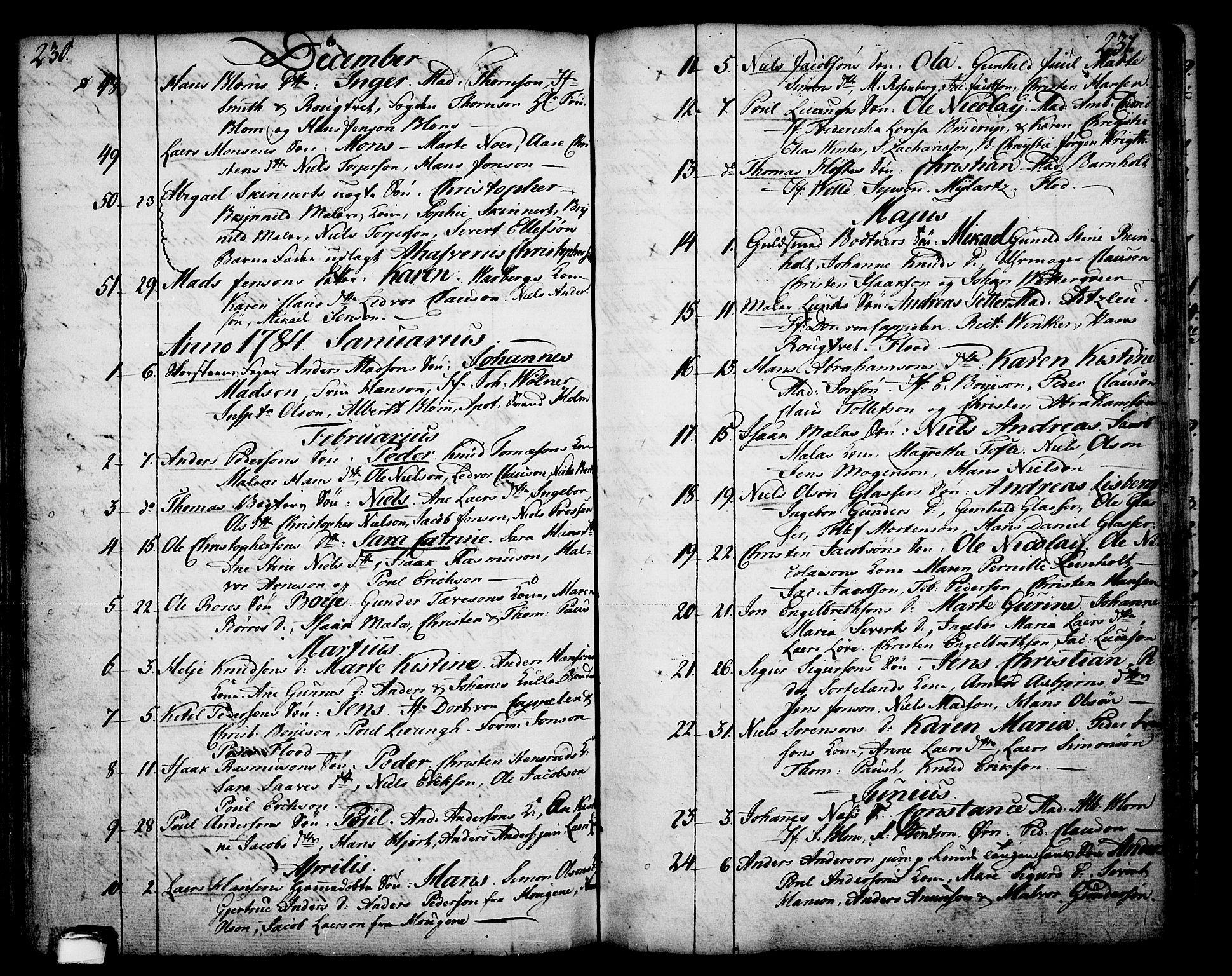 SAKO, Skien kirkebøker, F/Fa/L0003: Ministerialbok nr. 3, 1755-1791, s. 230-231