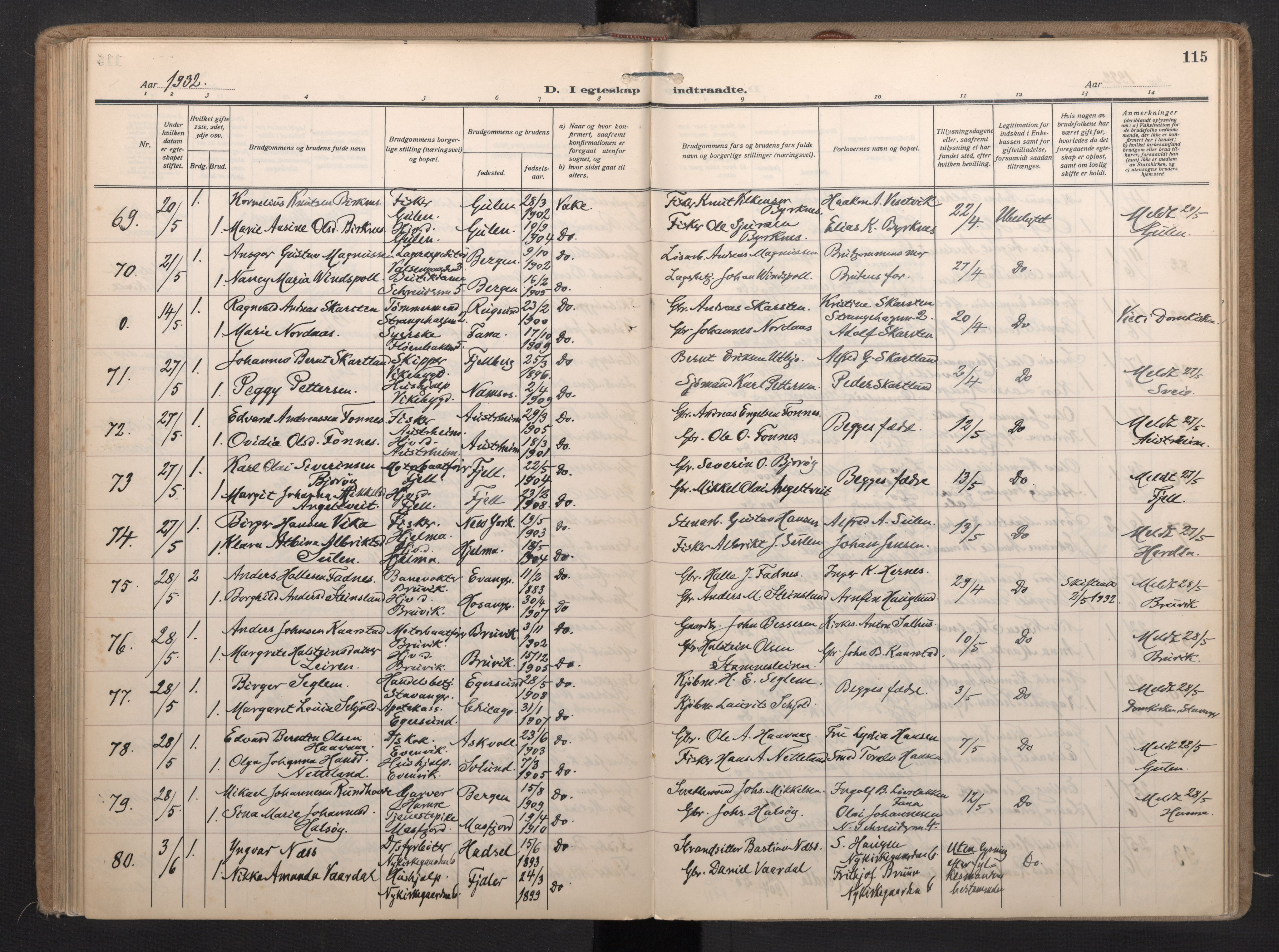 SAB, Nykirken Sokneprestembete, H/Haa: Ministerialbok nr. D 8, 1926-1934, s. 114b-115a