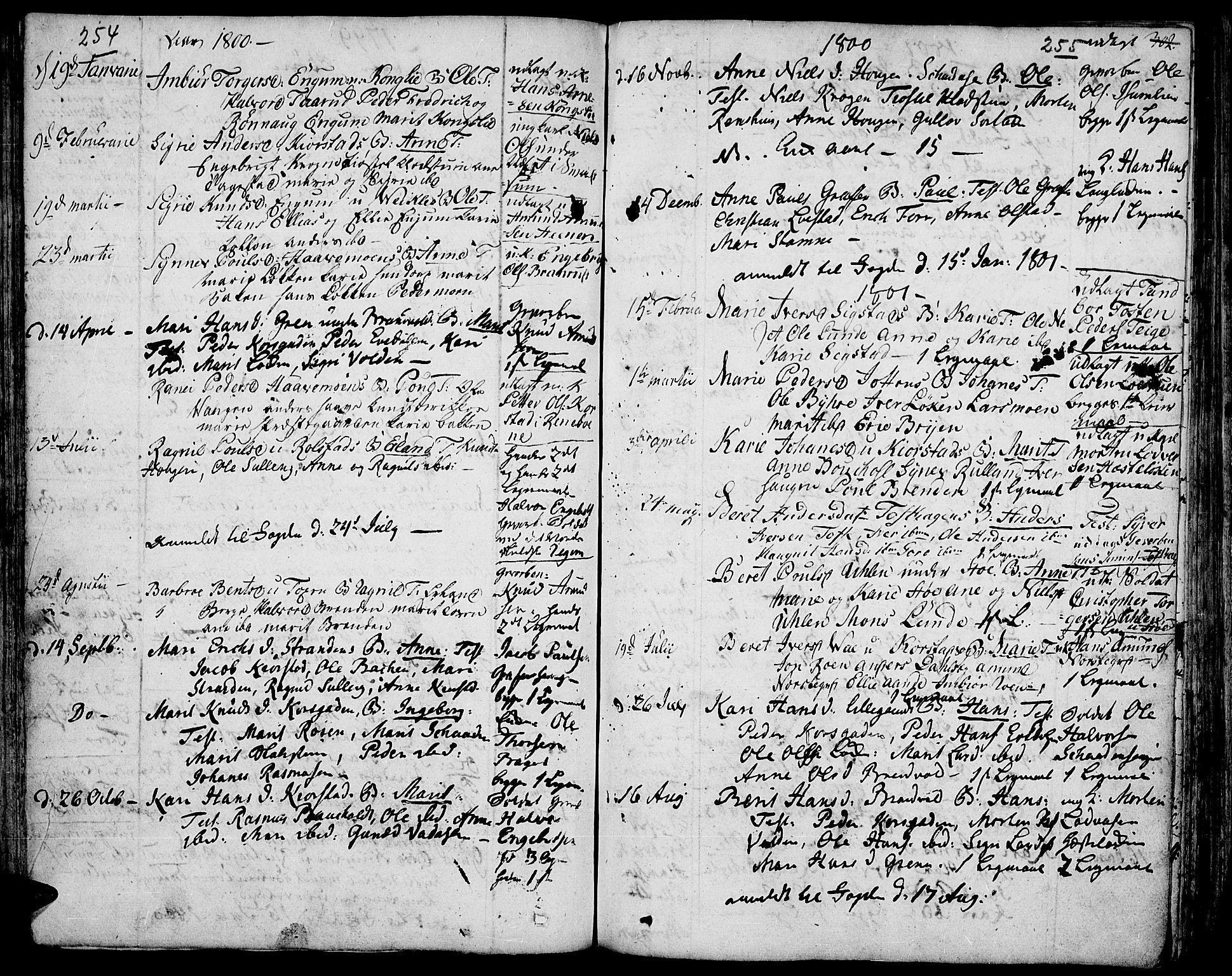 SAH, Fron prestekontor, H/Ha/Haa/L0001: Ministerialbok nr. 1, 1799-1816, s. 254-255