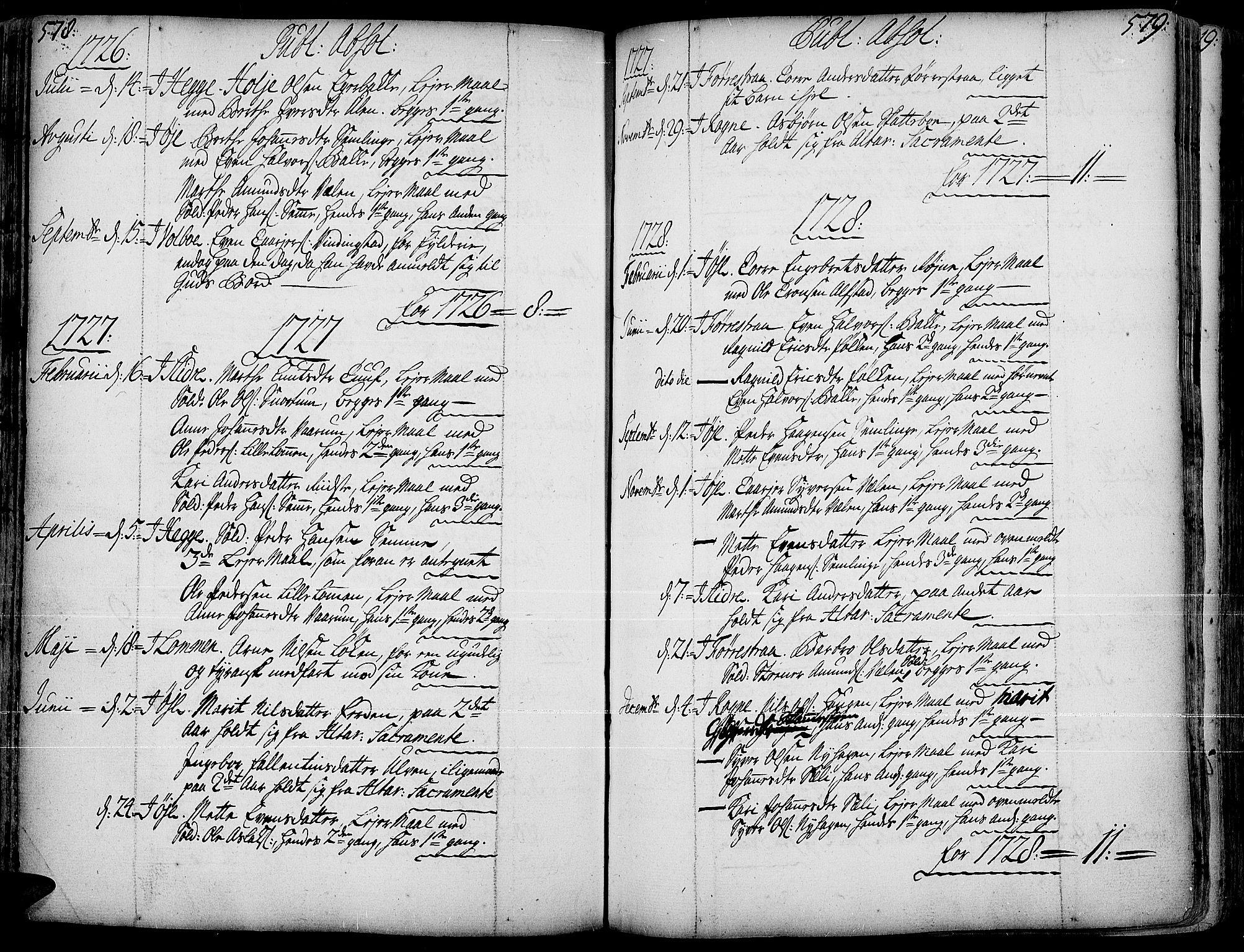 SAH, Slidre prestekontor, Ministerialbok nr. 1, 1724-1814, s. 578-579