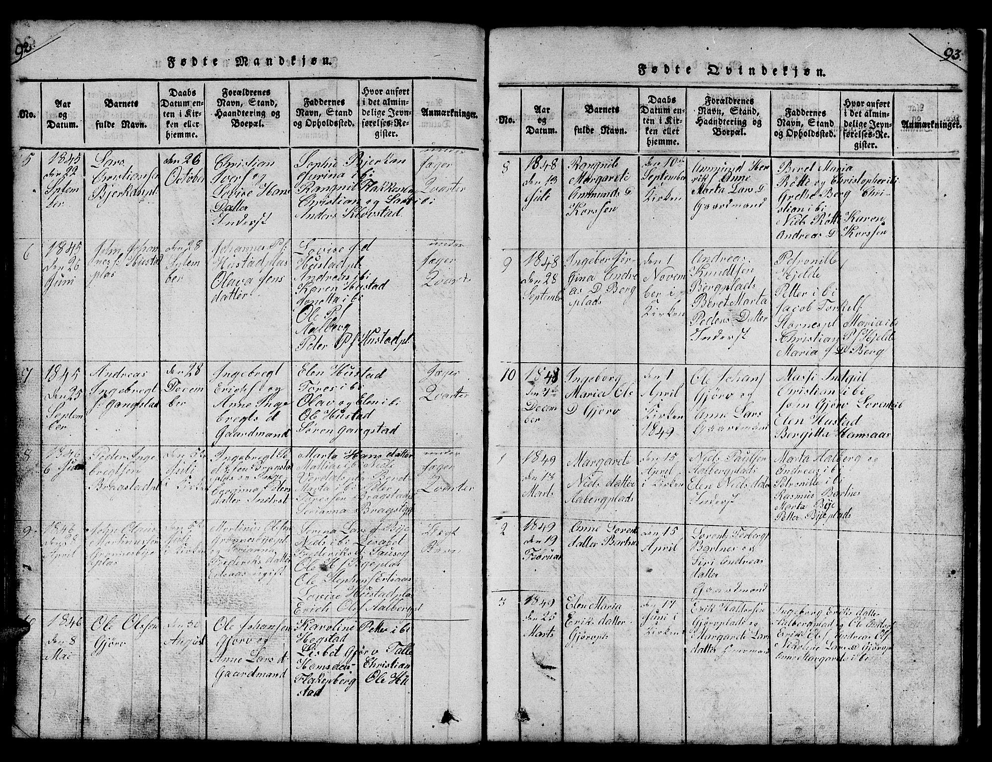 SAT, Ministerialprotokoller, klokkerbøker og fødselsregistre - Nord-Trøndelag, 732/L0317: Klokkerbok nr. 732C01, 1816-1881, s. 92-93