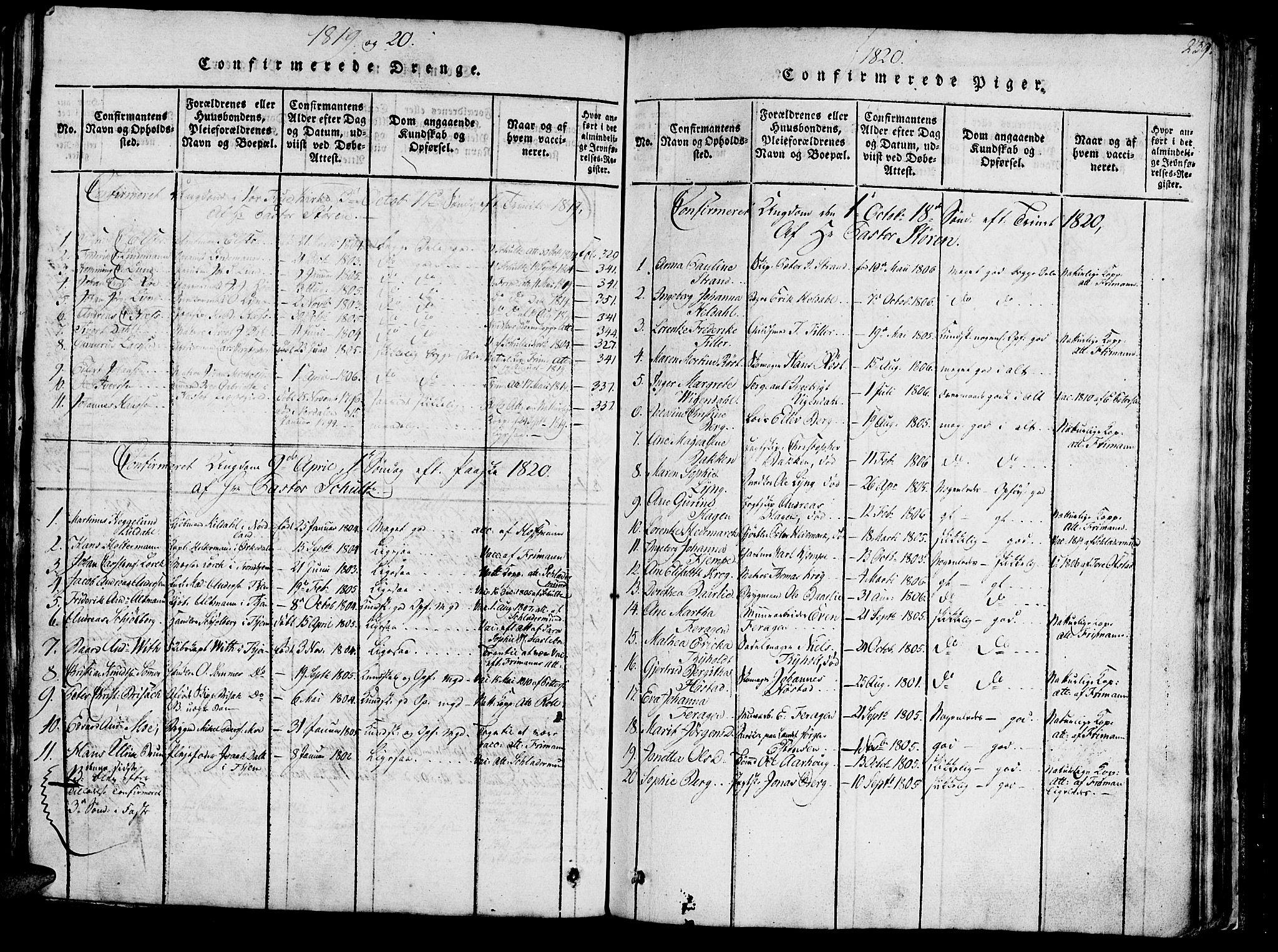 SAT, Ministerialprotokoller, klokkerbøker og fødselsregistre - Sør-Trøndelag, 602/L0135: Klokkerbok nr. 602C03, 1815-1832, s. 239