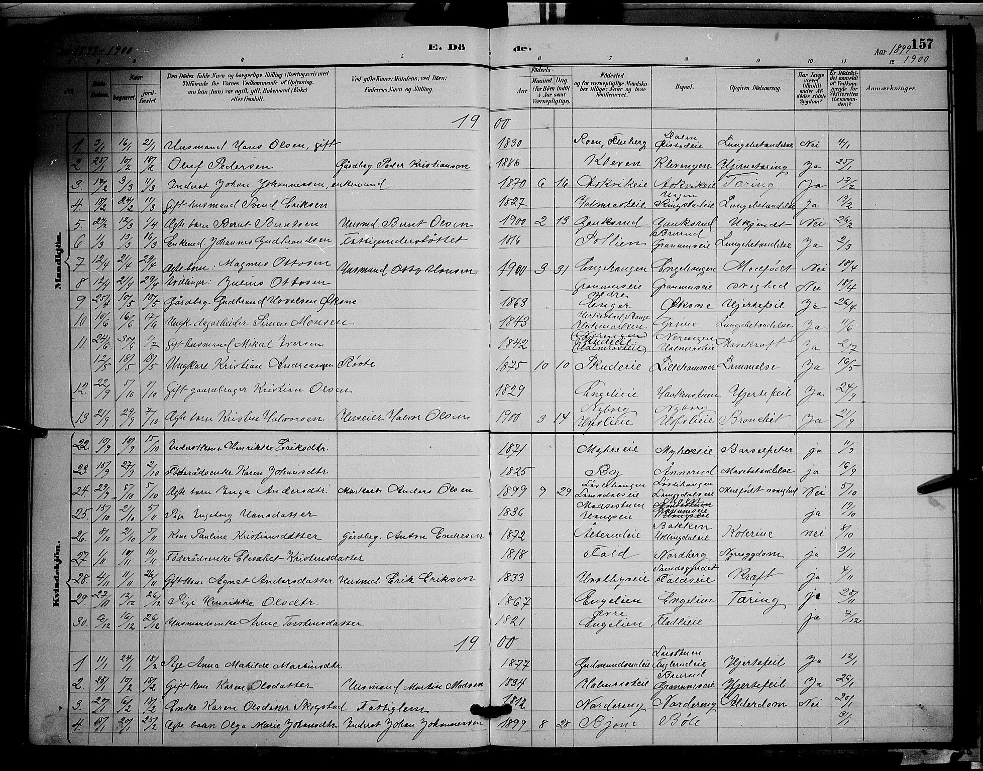 SAH, Søndre Land prestekontor, L/L0002: Klokkerbok nr. 2, 1884-1900, s. 157