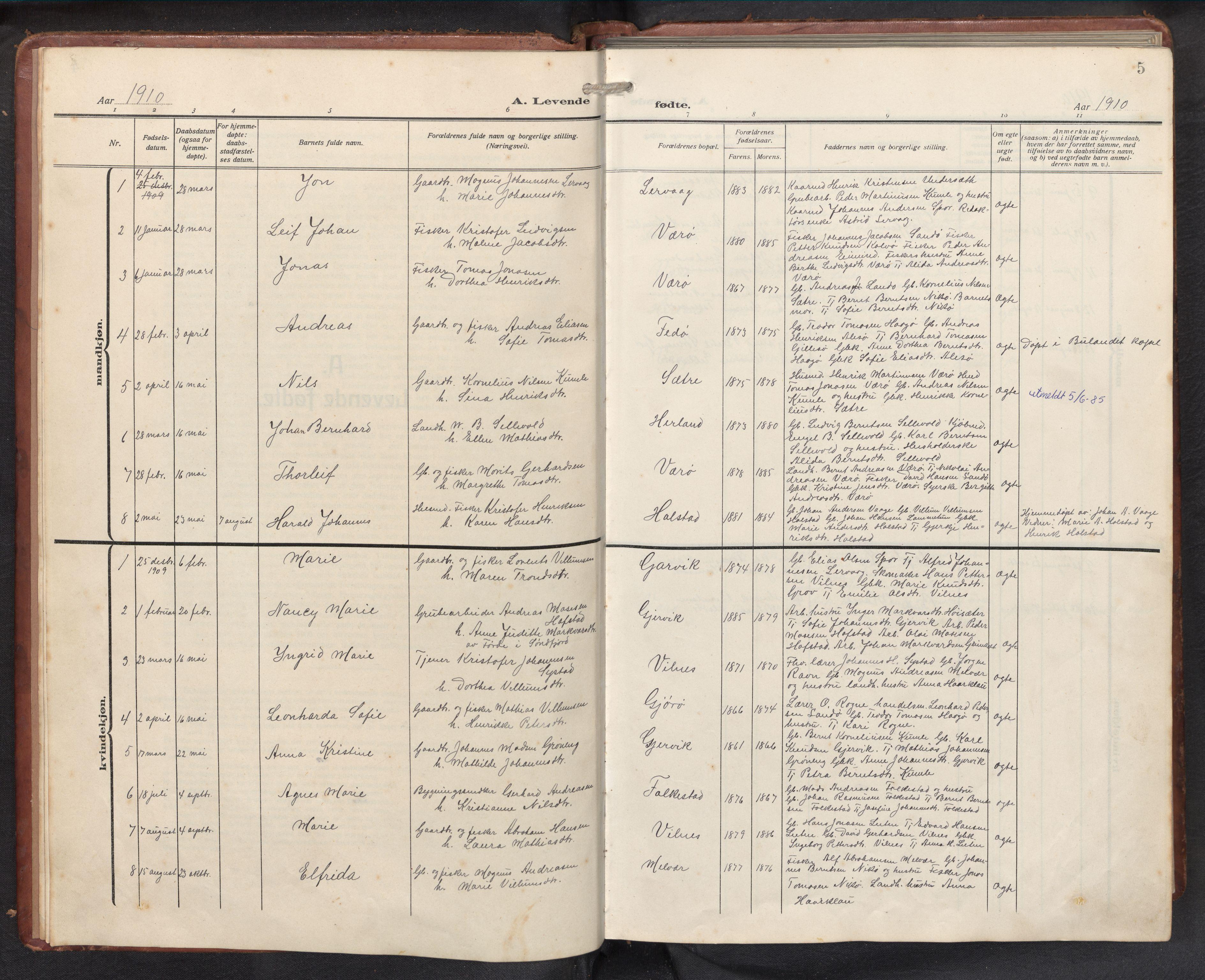 SAB, Askvoll sokneprestembete, H/Hab/Habb/L0002: Klokkerbok nr. B 2, 1910-1947, s. 4b-5a