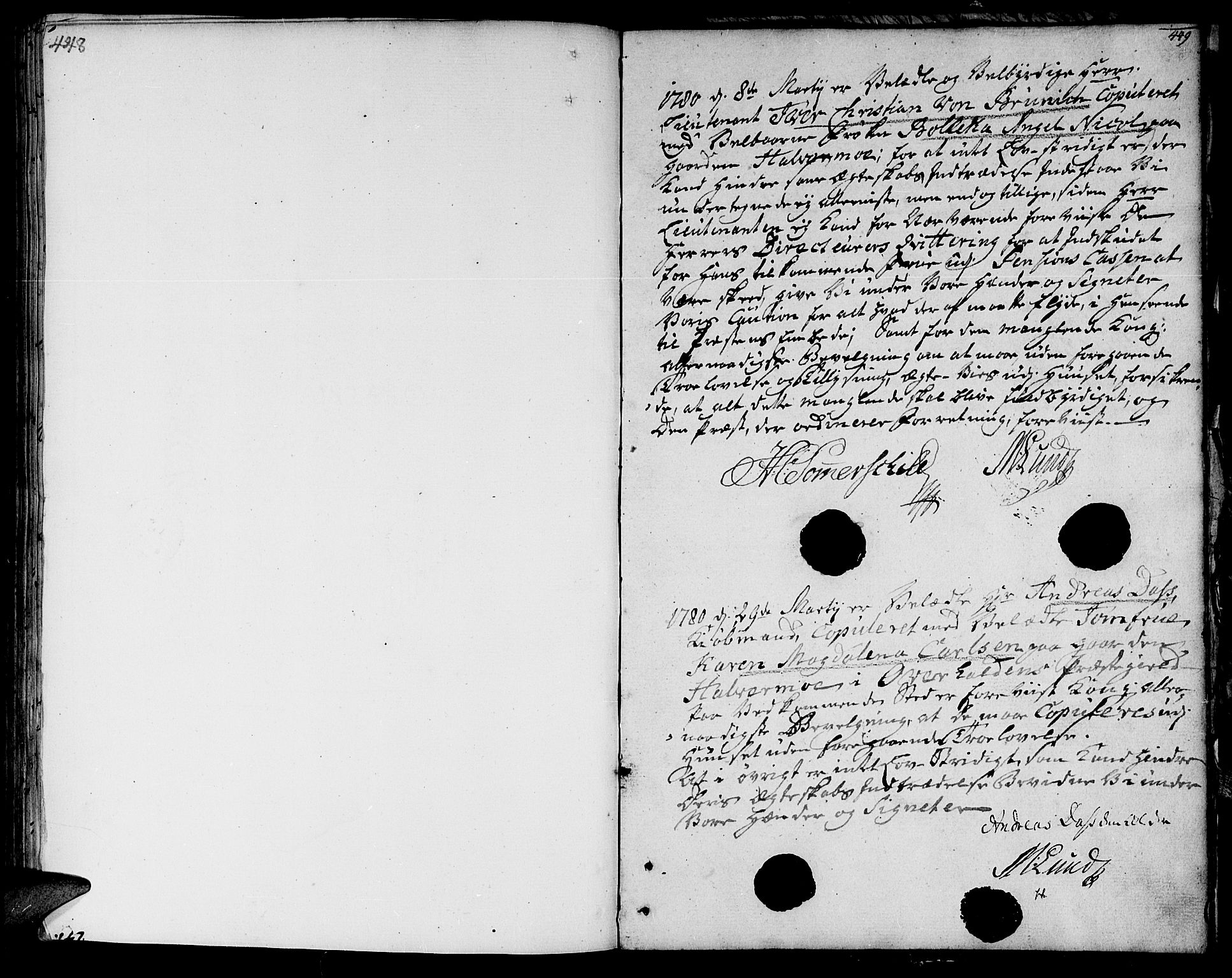 SAT, Ministerialprotokoller, klokkerbøker og fødselsregistre - Nord-Trøndelag, 764/L0544: Ministerialbok nr. 764A04, 1780-1798, s. 448-449