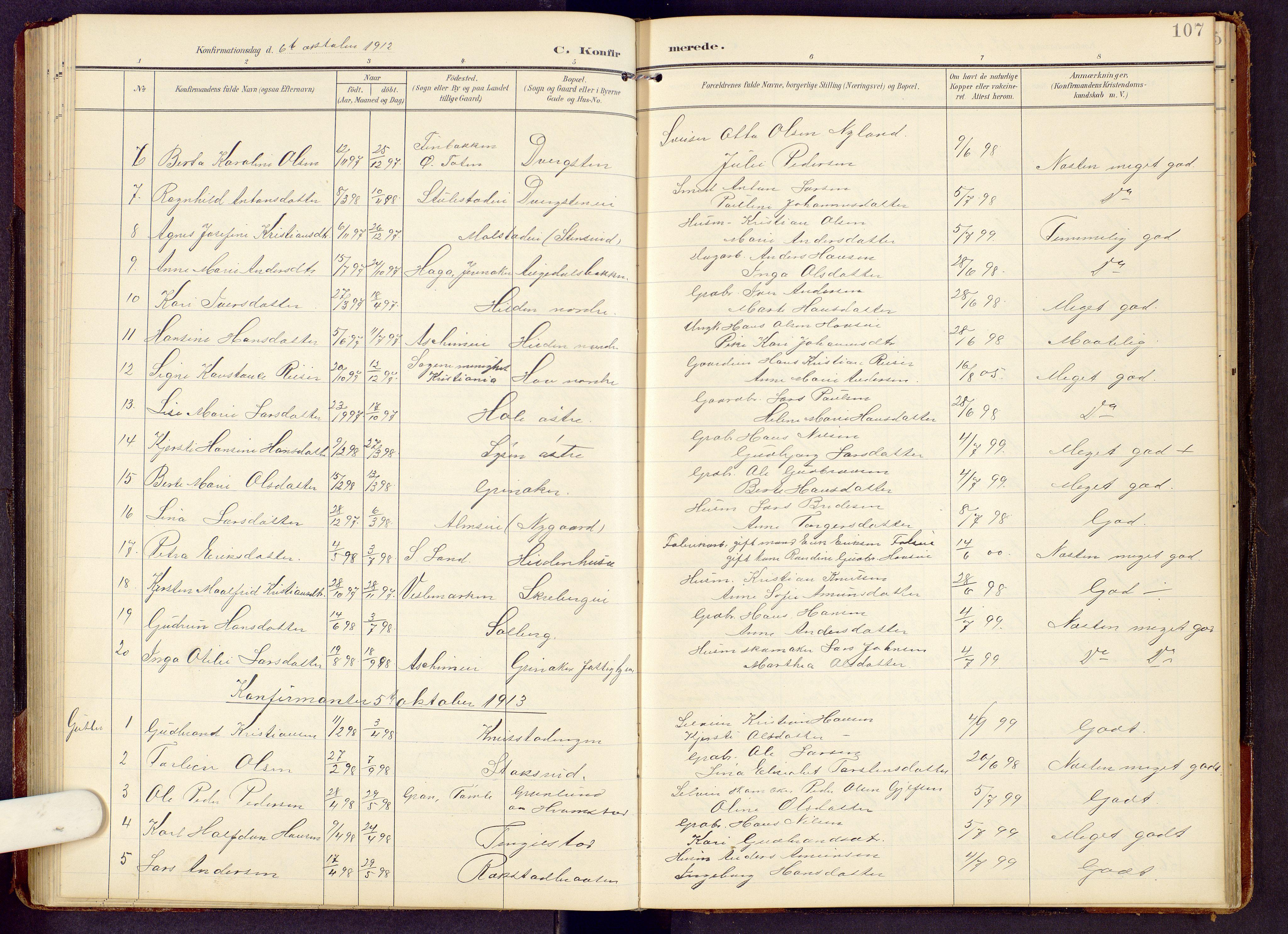 SAH, Brandbu prestekontor, Klokkerbok nr. 9, 1903-1916, s. 107