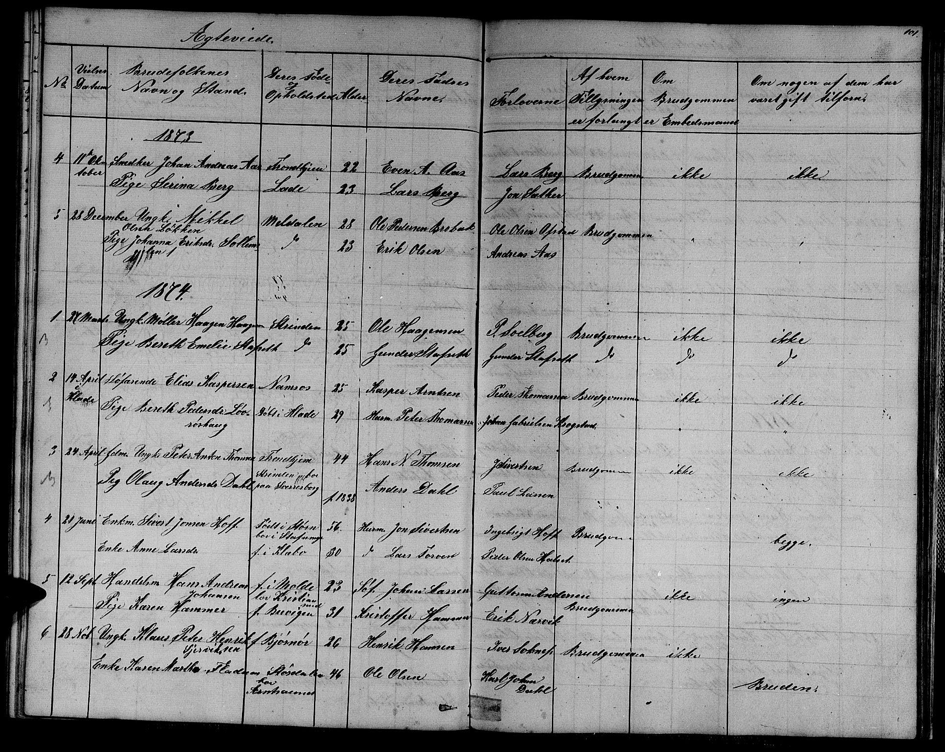 SAT, Ministerialprotokoller, klokkerbøker og fødselsregistre - Sør-Trøndelag, 611/L0353: Klokkerbok nr. 611C01, 1854-1881, s. 101