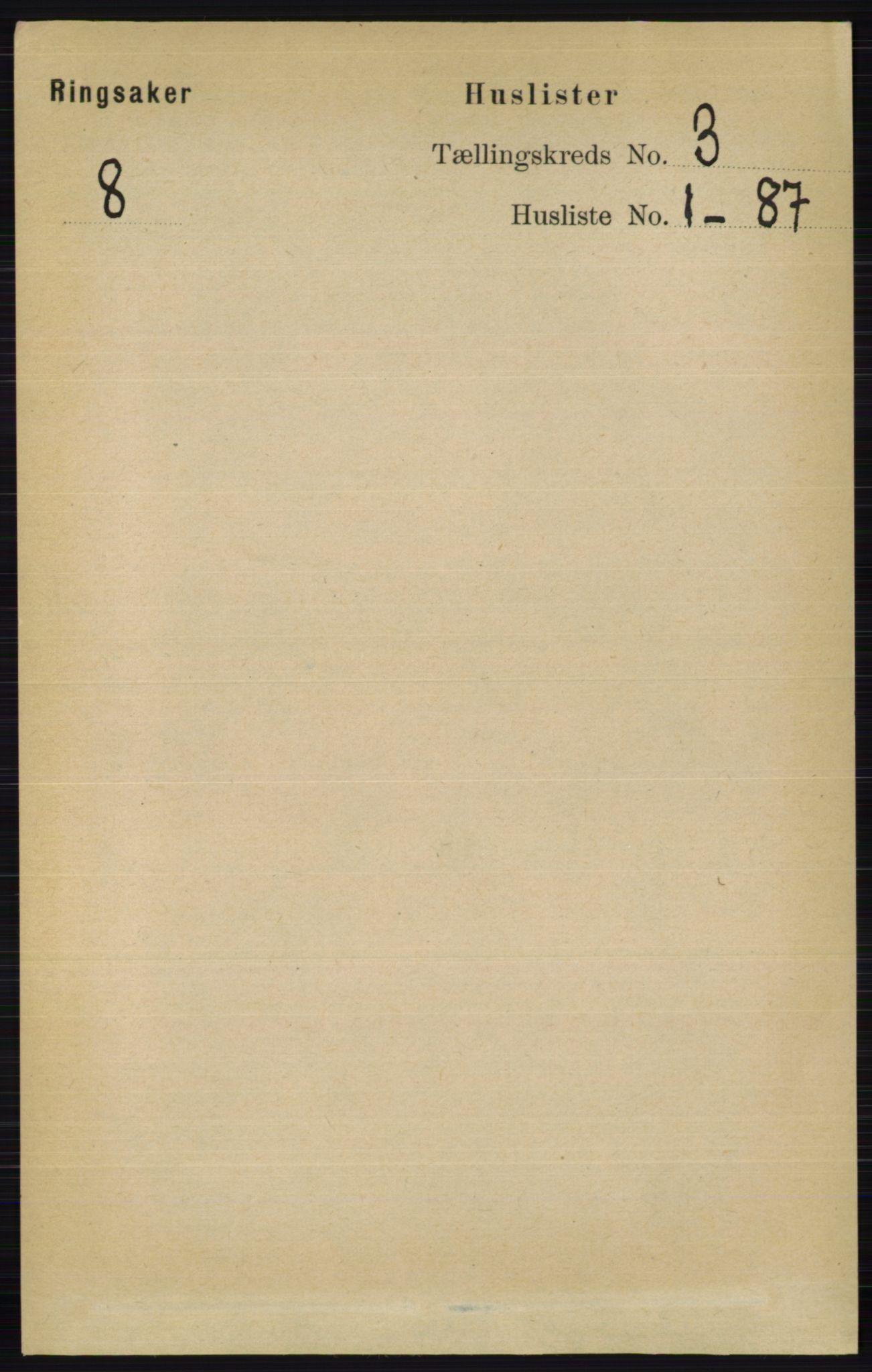 RA, Folketelling 1891 for 0412 Ringsaker herred, 1891, s. 1161