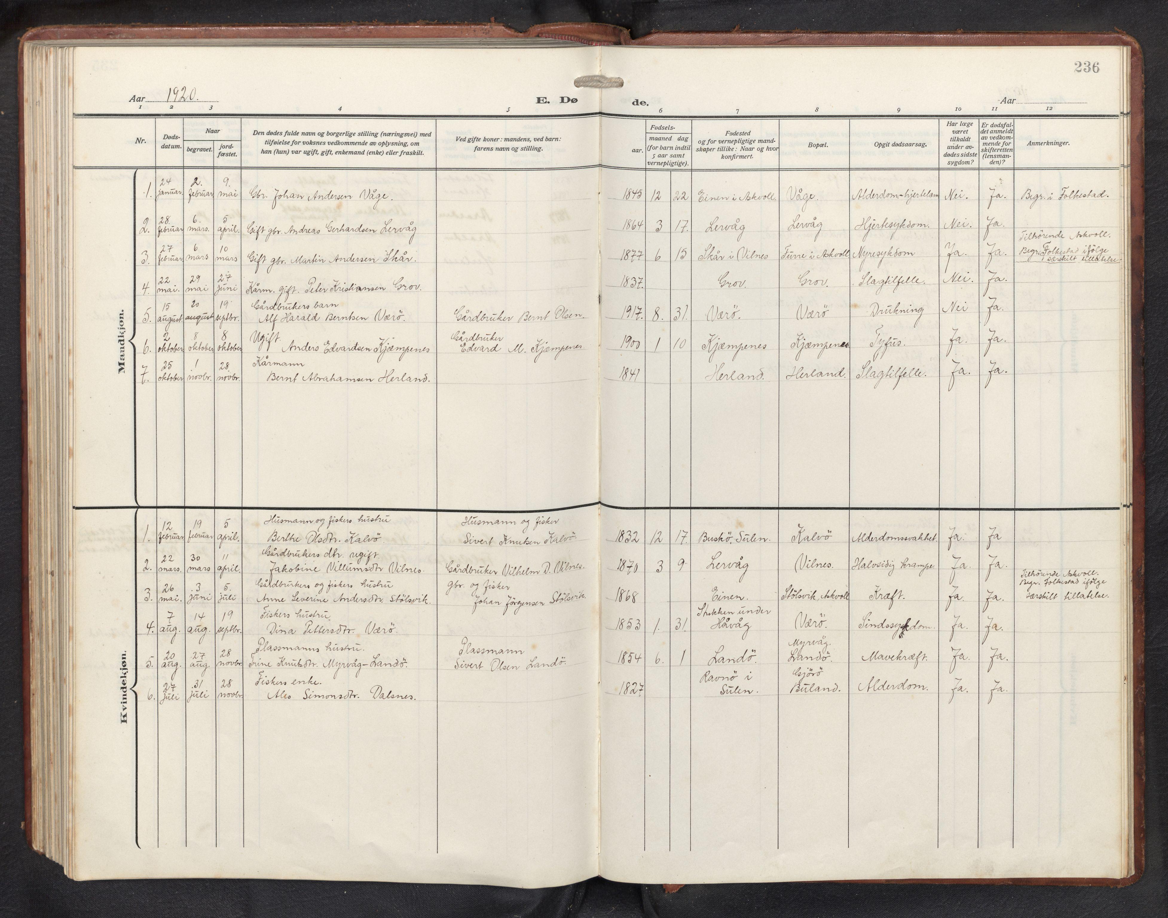 SAB, Askvoll sokneprestembete, H/Hab/Habb/L0002: Klokkerbok nr. B 2, 1910-1947, s. 235b-236a