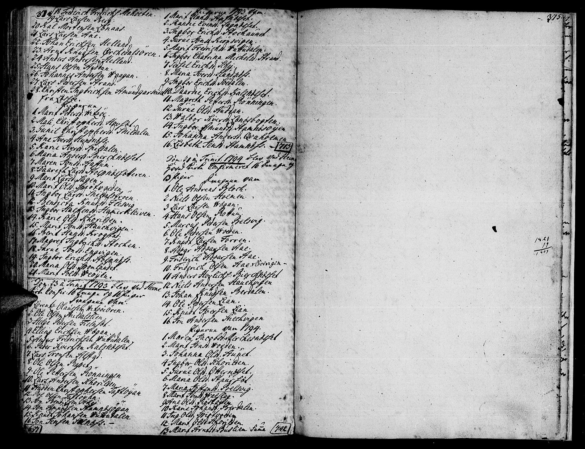 SAT, Ministerialprotokoller, klokkerbøker og fødselsregistre - Sør-Trøndelag, 630/L0489: Ministerialbok nr. 630A02, 1757-1794, s. 374-375