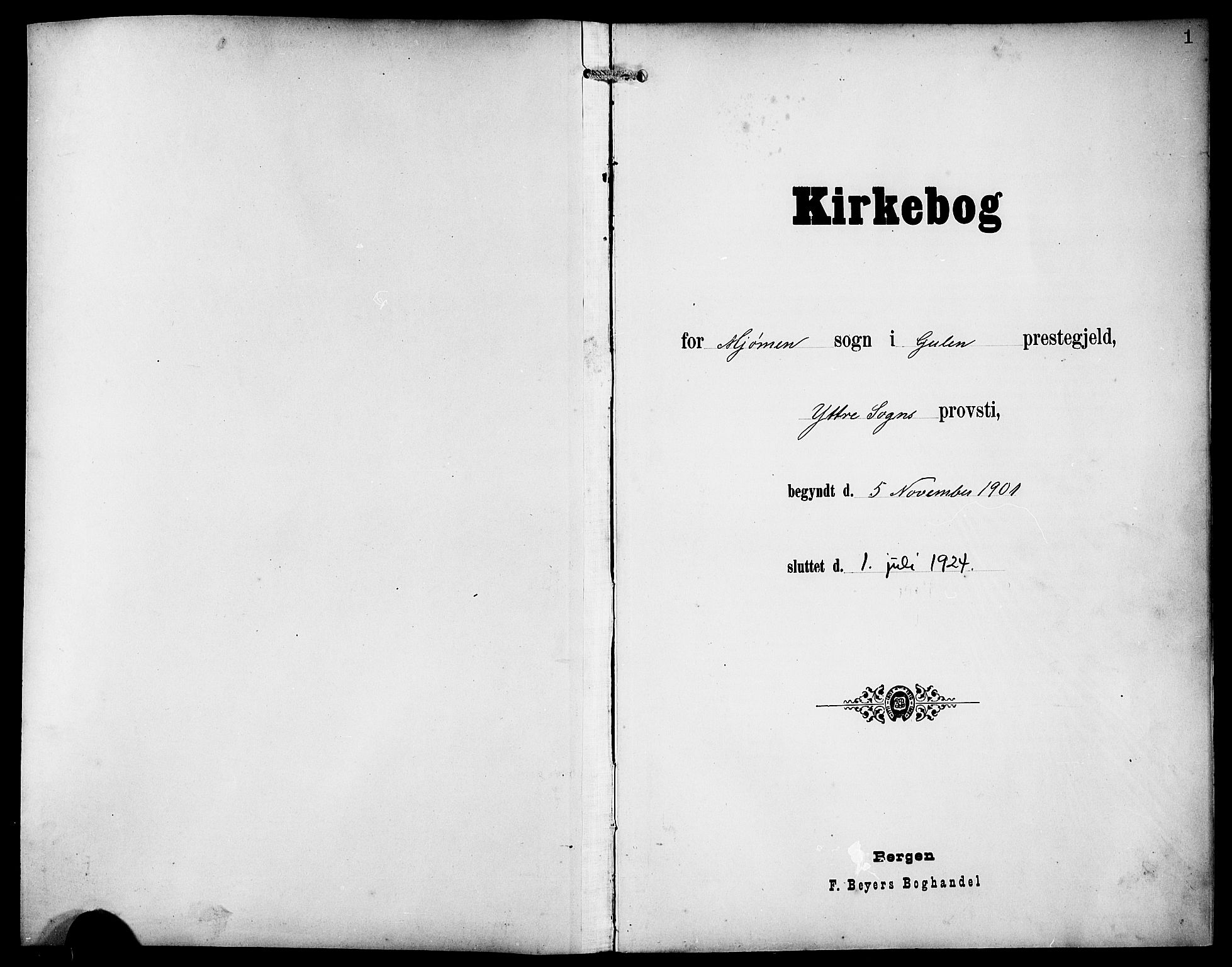 SAB, Gulen Sokneprestembete, Klokkerbok nr. D 1, 1901-1924, s. 1