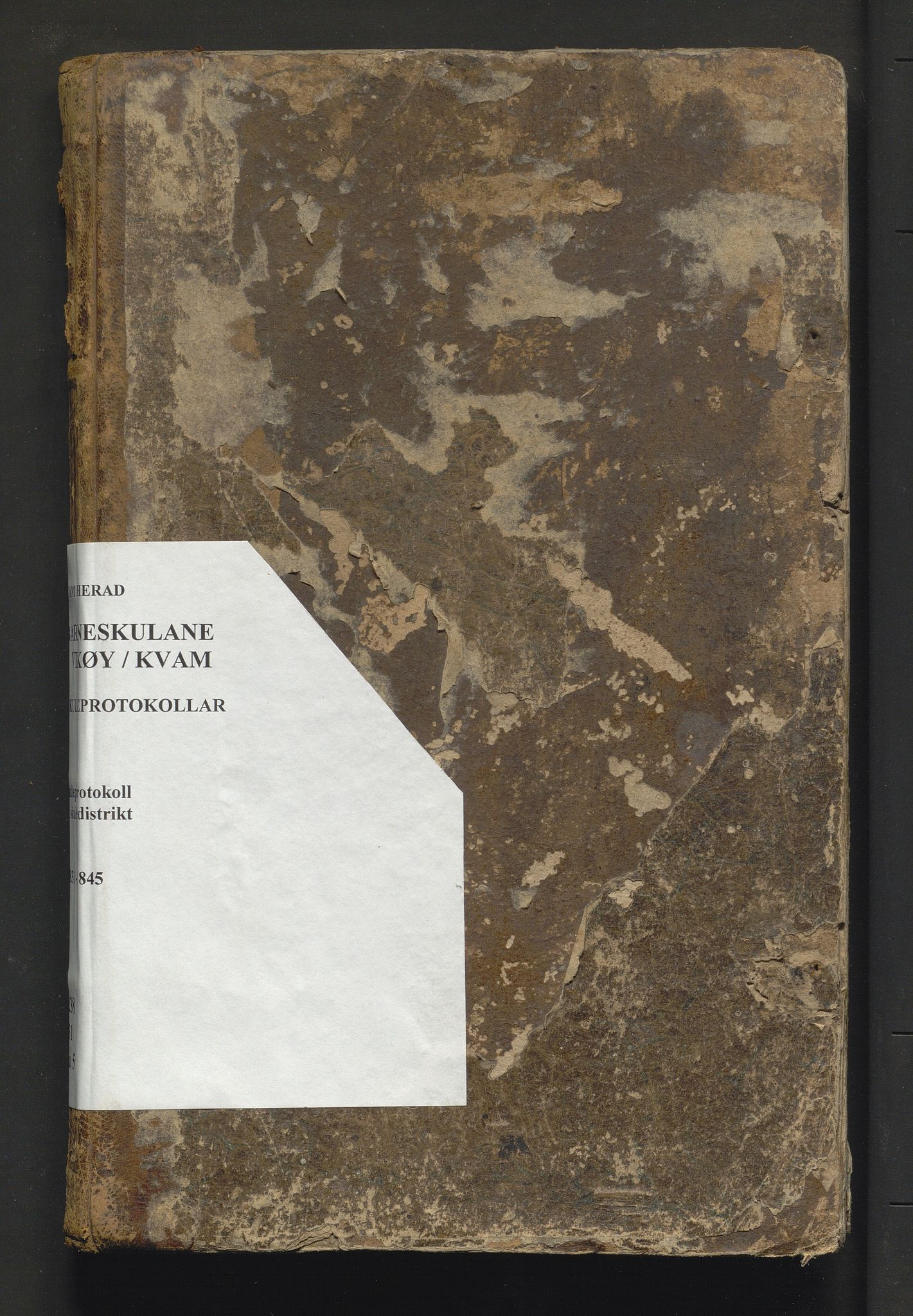 IKAH, Kvam herad. Barneskulane, F/Fa/L0005: Skuleprotokoll for 2. skuledistrikt i Vikøy prestegjeld m/inventarliste, 1831-1845