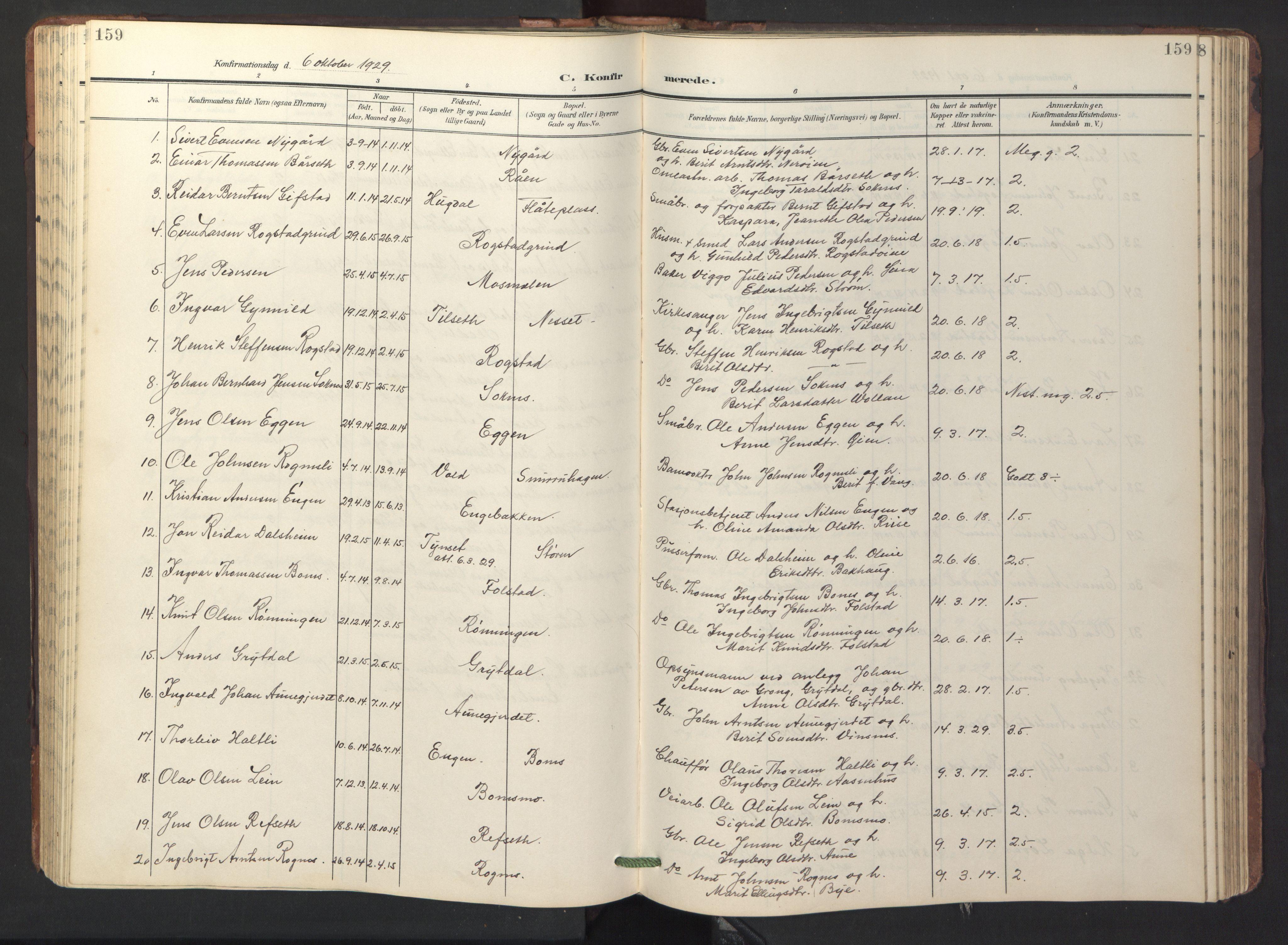 SAT, Ministerialprotokoller, klokkerbøker og fødselsregistre - Sør-Trøndelag, 687/L1019: Klokkerbok nr. 687C03, 1904-1931, s. 159
