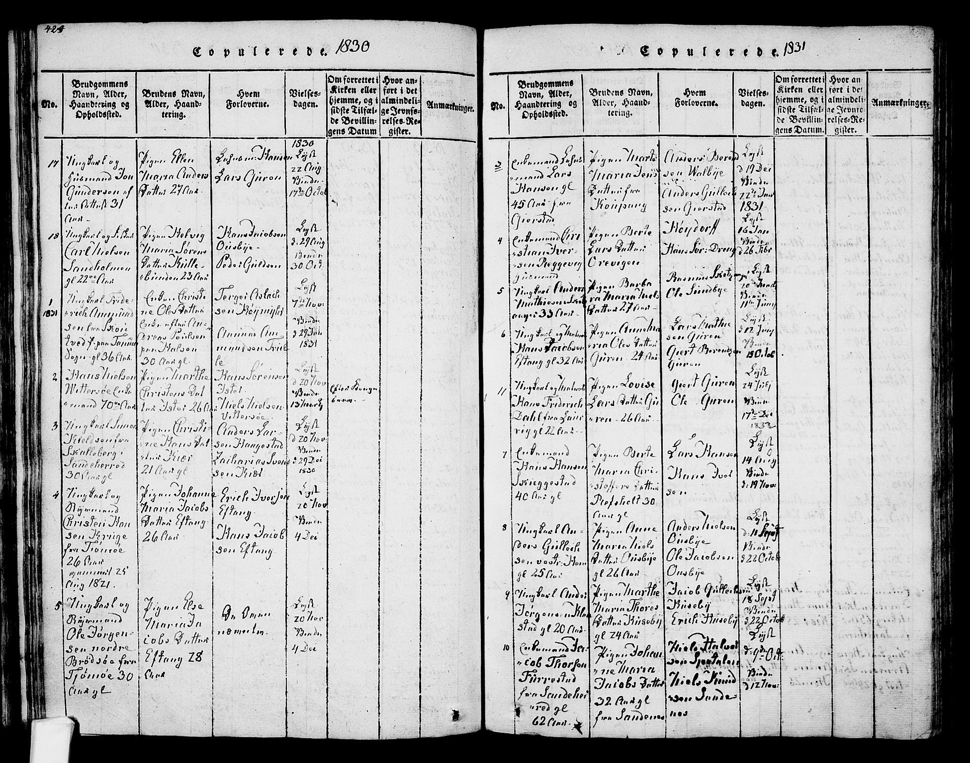 SAKO, Tjølling kirkebøker, F/Fa/L0005: Ministerialbok nr. 5, 1814-1836, s. 424-425