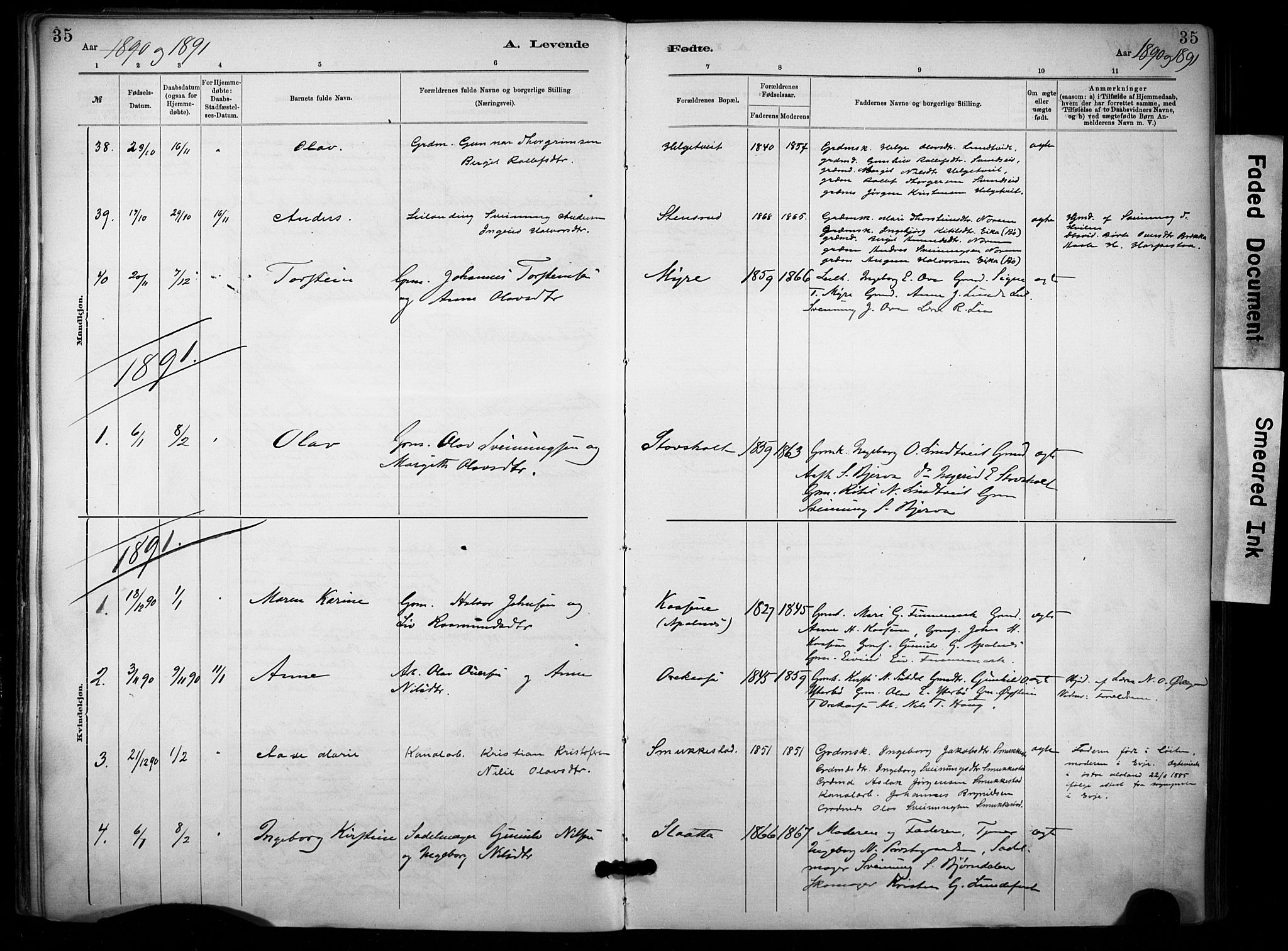 SAKO, Lunde kirkebøker, F/Fa/L0002: Ministerialbok nr. I 2, 1884-1892, s. 35